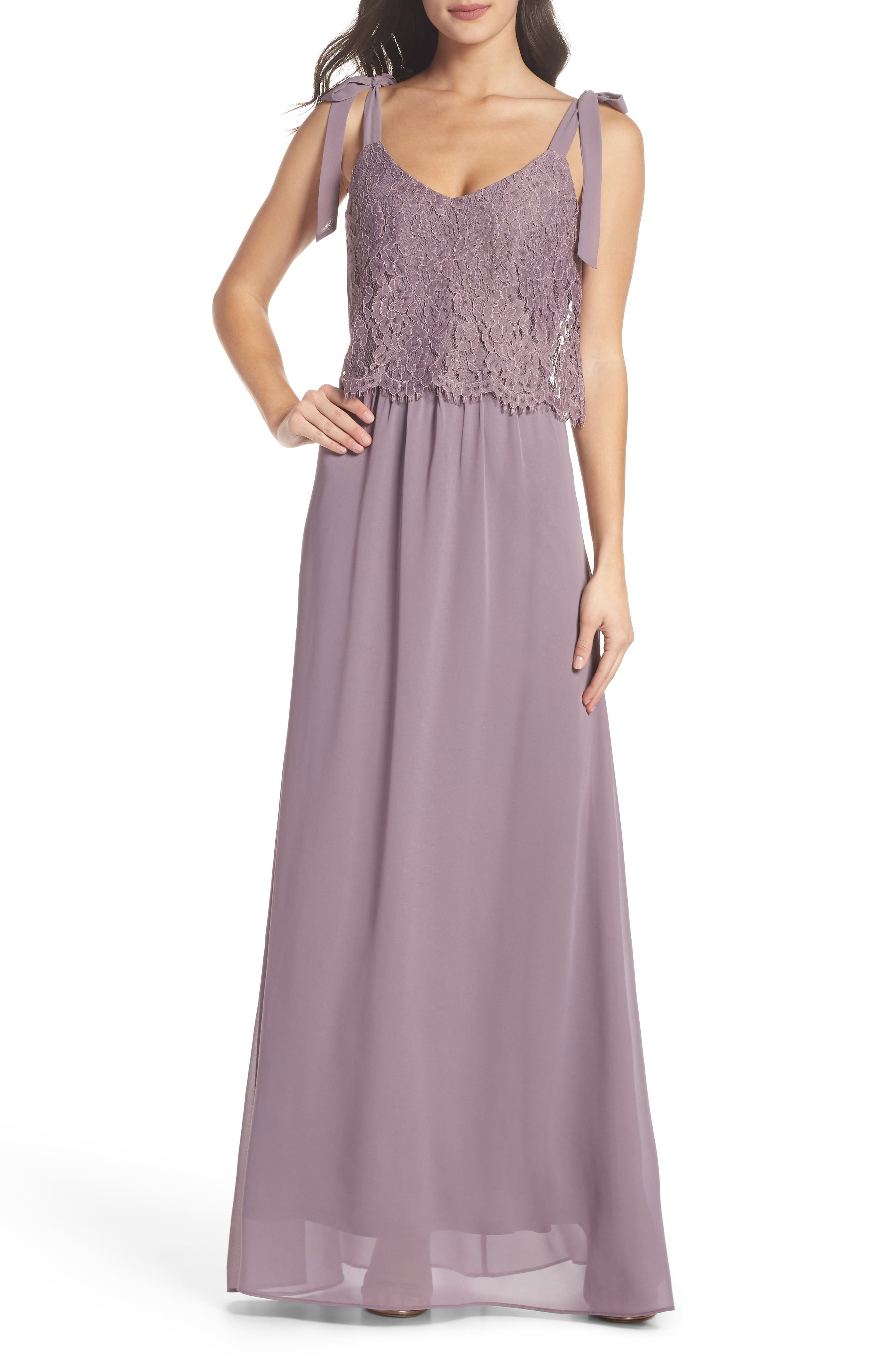 Koko Tie Shoulder Lace Bodice Gown,                             Main thumbnail 1, color,                             LILAC