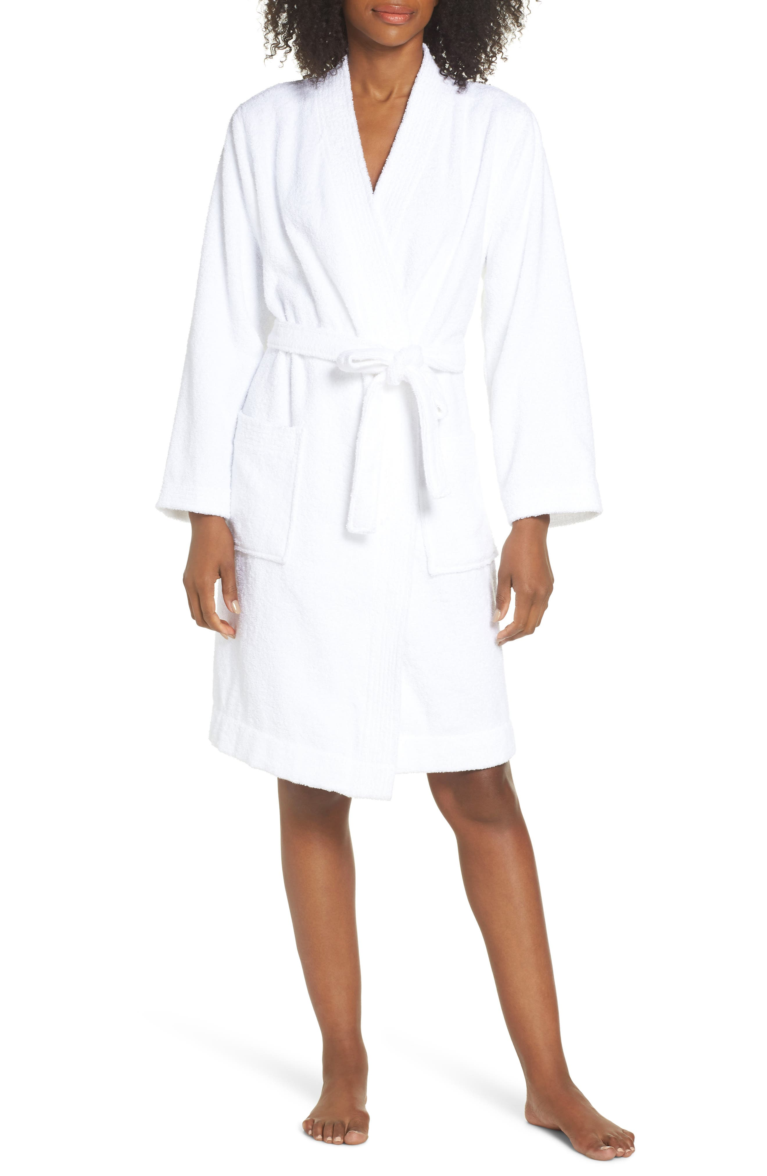Lorie Terry Short Robe,                             Main thumbnail 1, color,                             WHITE