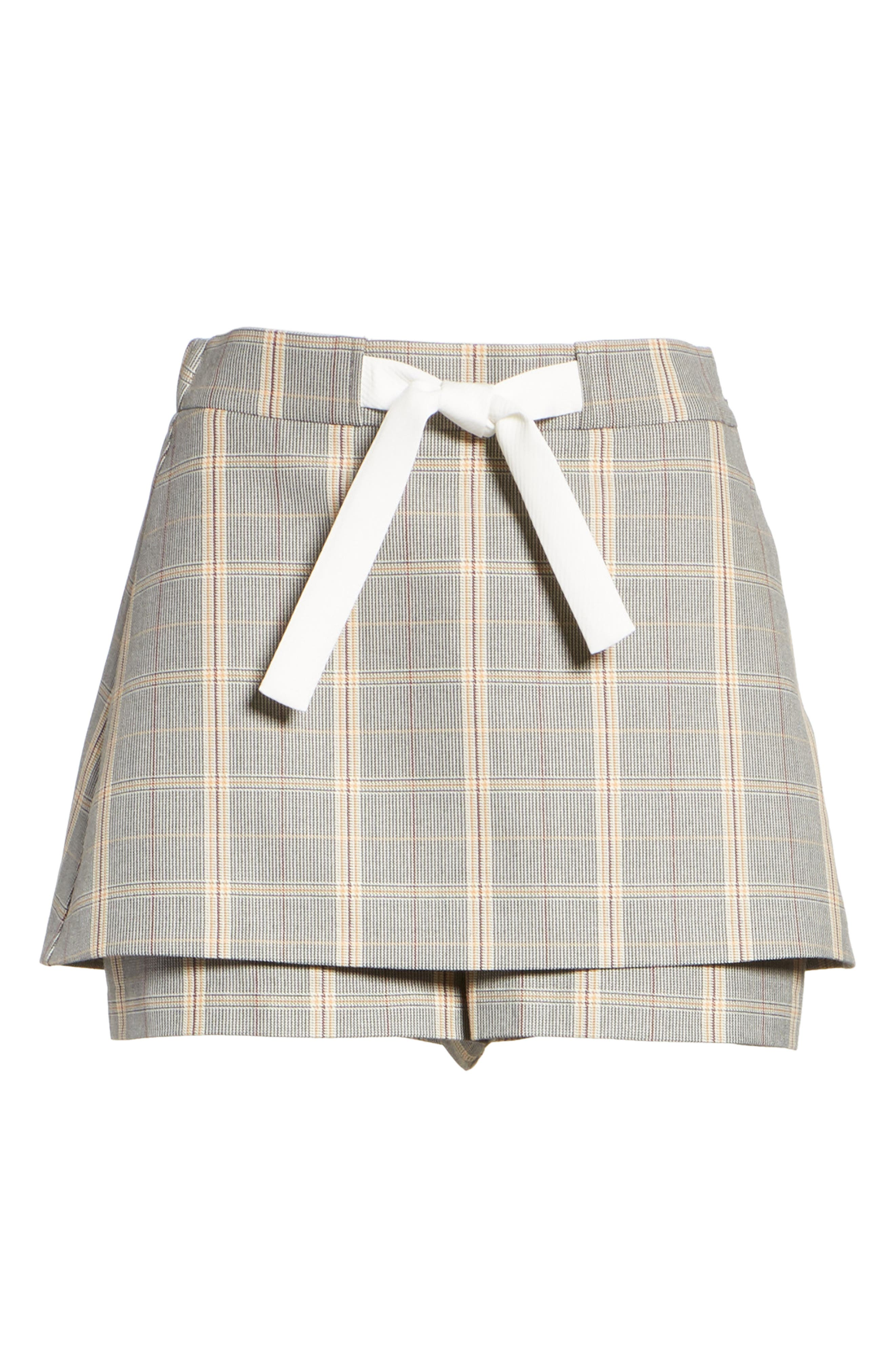 Plaid Skirt Front Shorts,                             Alternate thumbnail 6, color,                             020