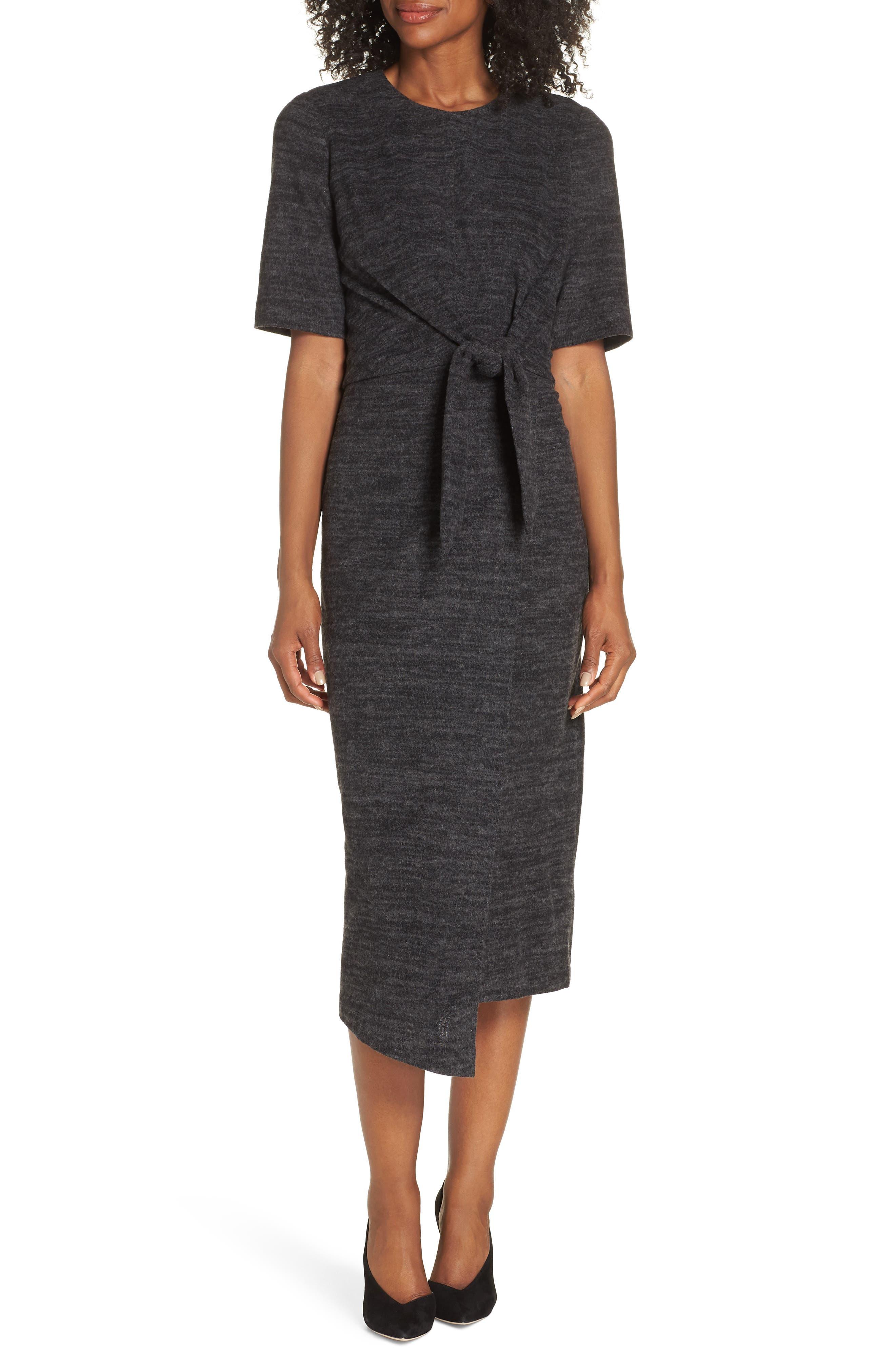 Petite Maggy London Tie Front Midi Dress, Grey