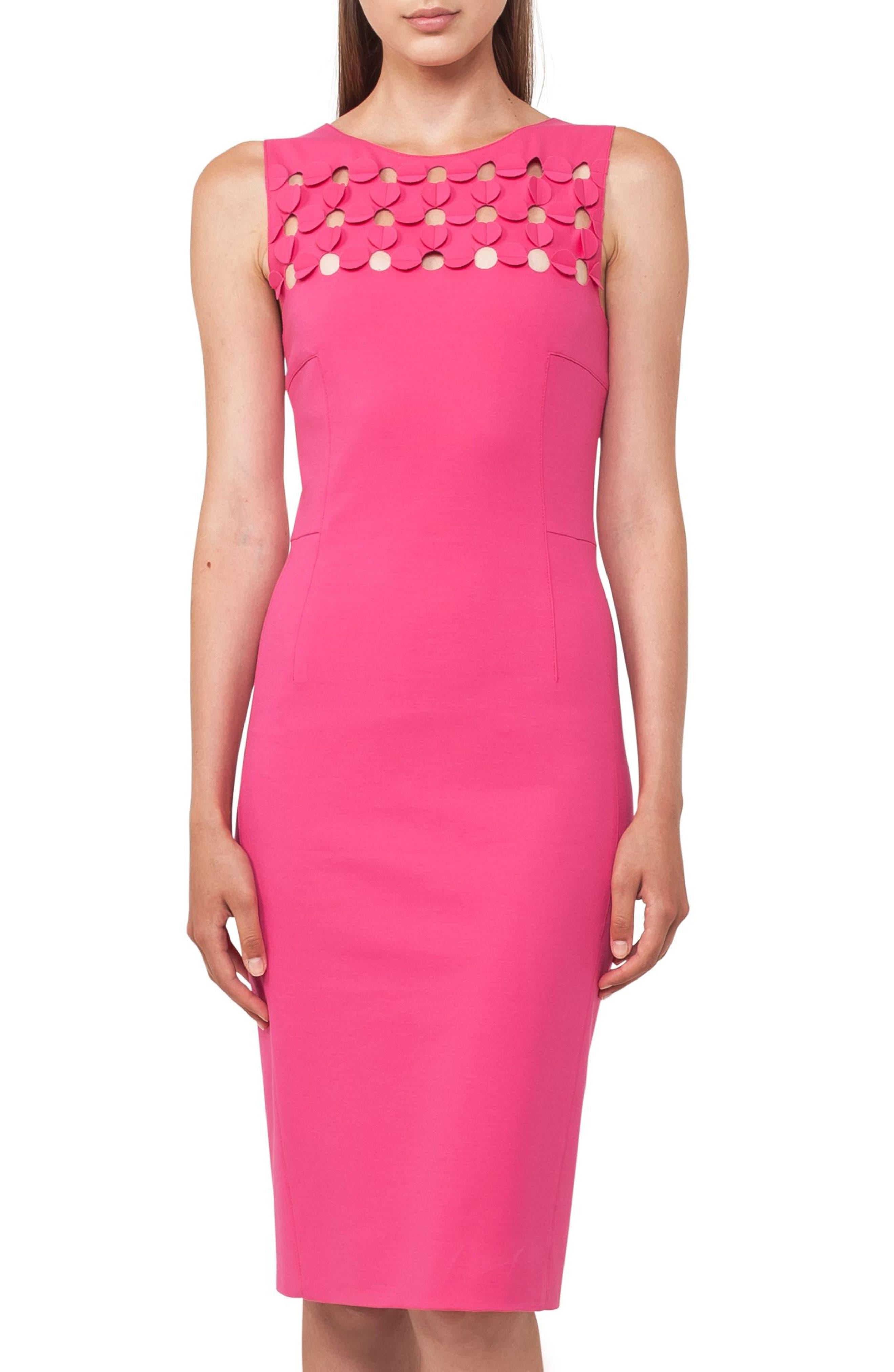 Cutout Dot Sheath Dress,                             Alternate thumbnail 4, color,                             650