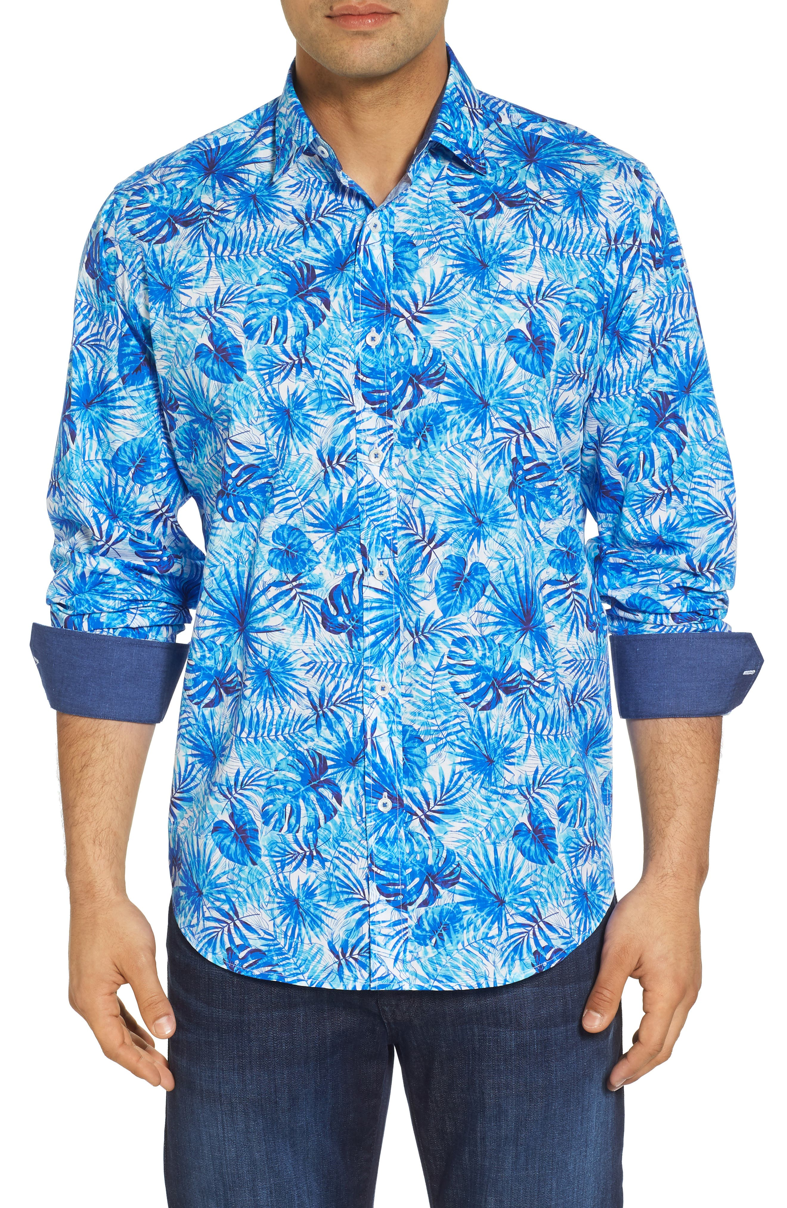 Tropical Leaves Classic Fit Print Sport Shirt,                         Main,                         color, 419