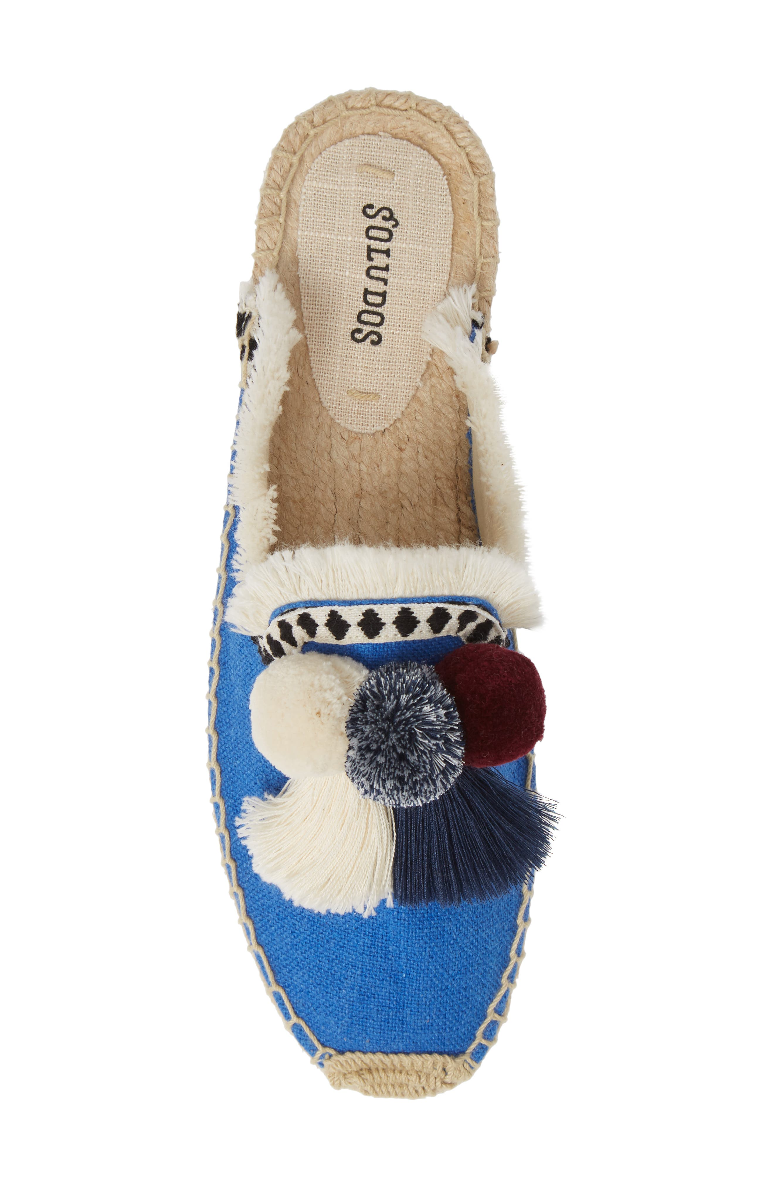 Pompom Espadrille Mule,                             Alternate thumbnail 5, color,                             MARLIN BLUE FABRIC