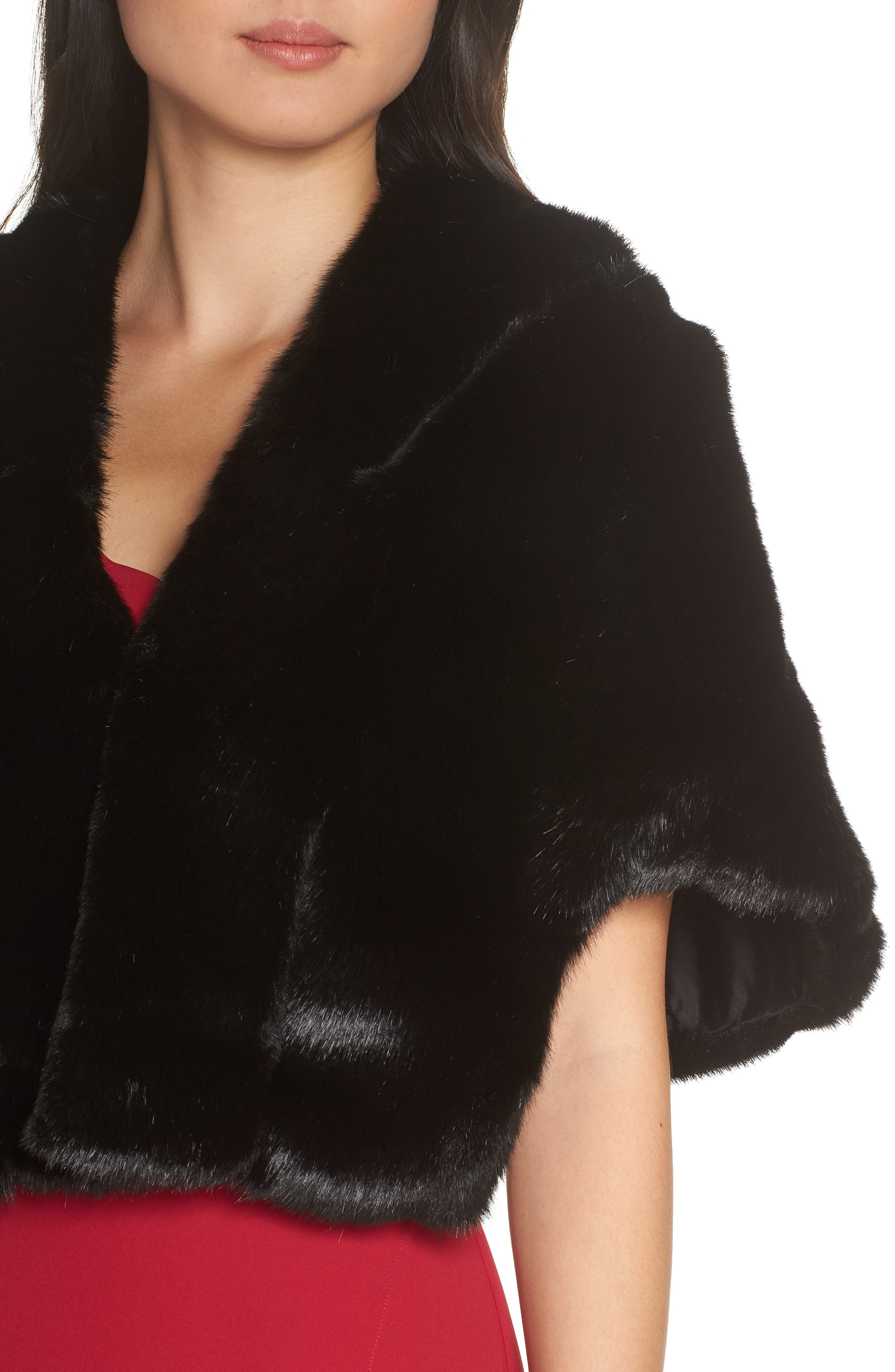 Faux Fur Capelet,                             Alternate thumbnail 4, color,                             BLACK