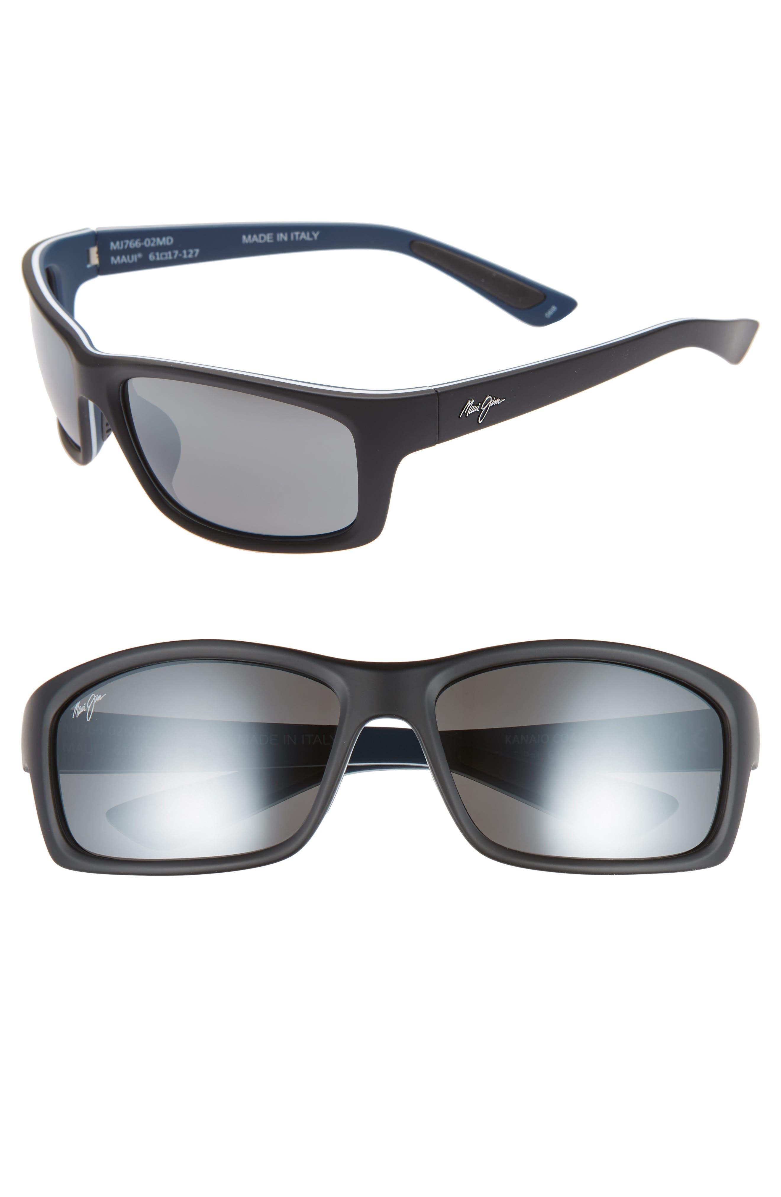 Maui Jim Kanaio Coast 61Mm Polarizedplus2 Sunglasses - Matte Black/white/blue