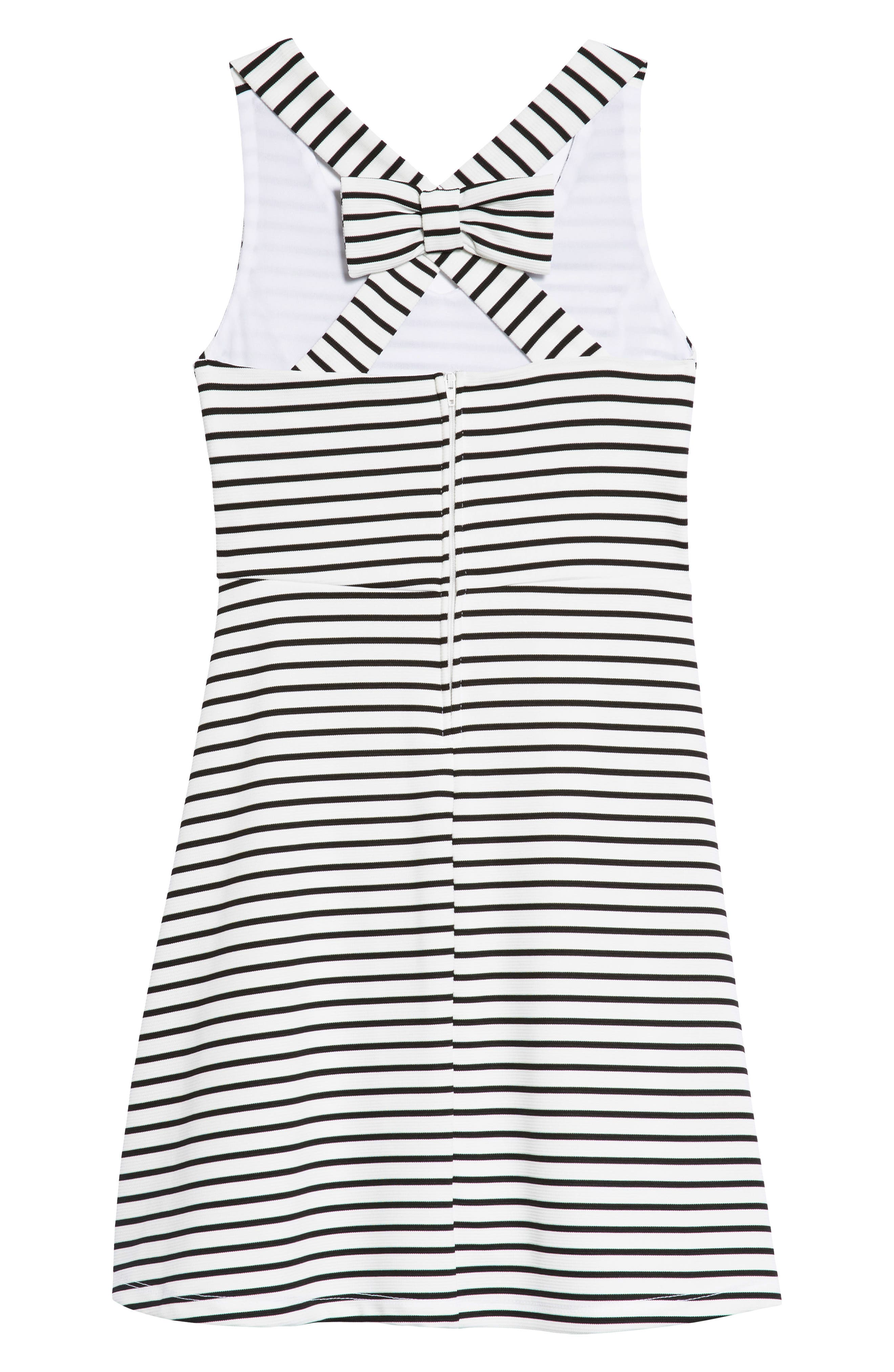 AVA & YELLY,                             Rib Stripe Skater Dress,                             Alternate thumbnail 2, color,                             WHITE/ BLACK