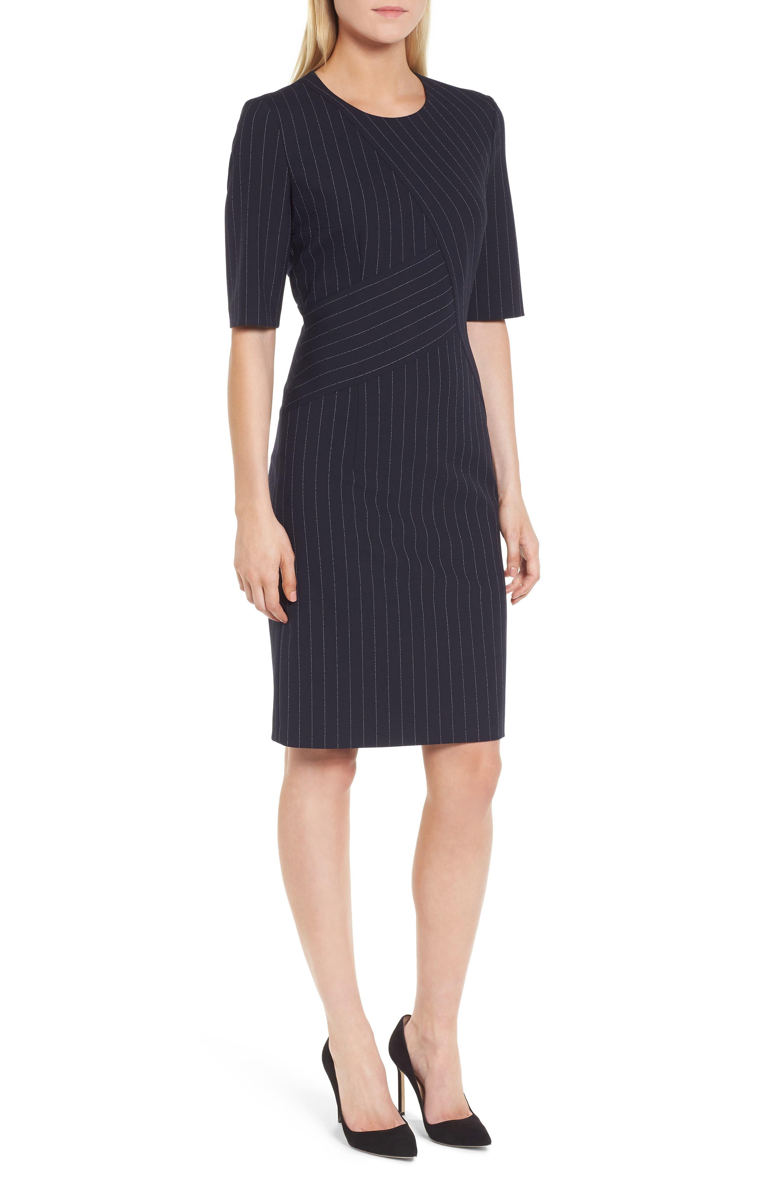 Dalayara Pinstripe Sheath Dress,                             Main thumbnail 1, color,                             461