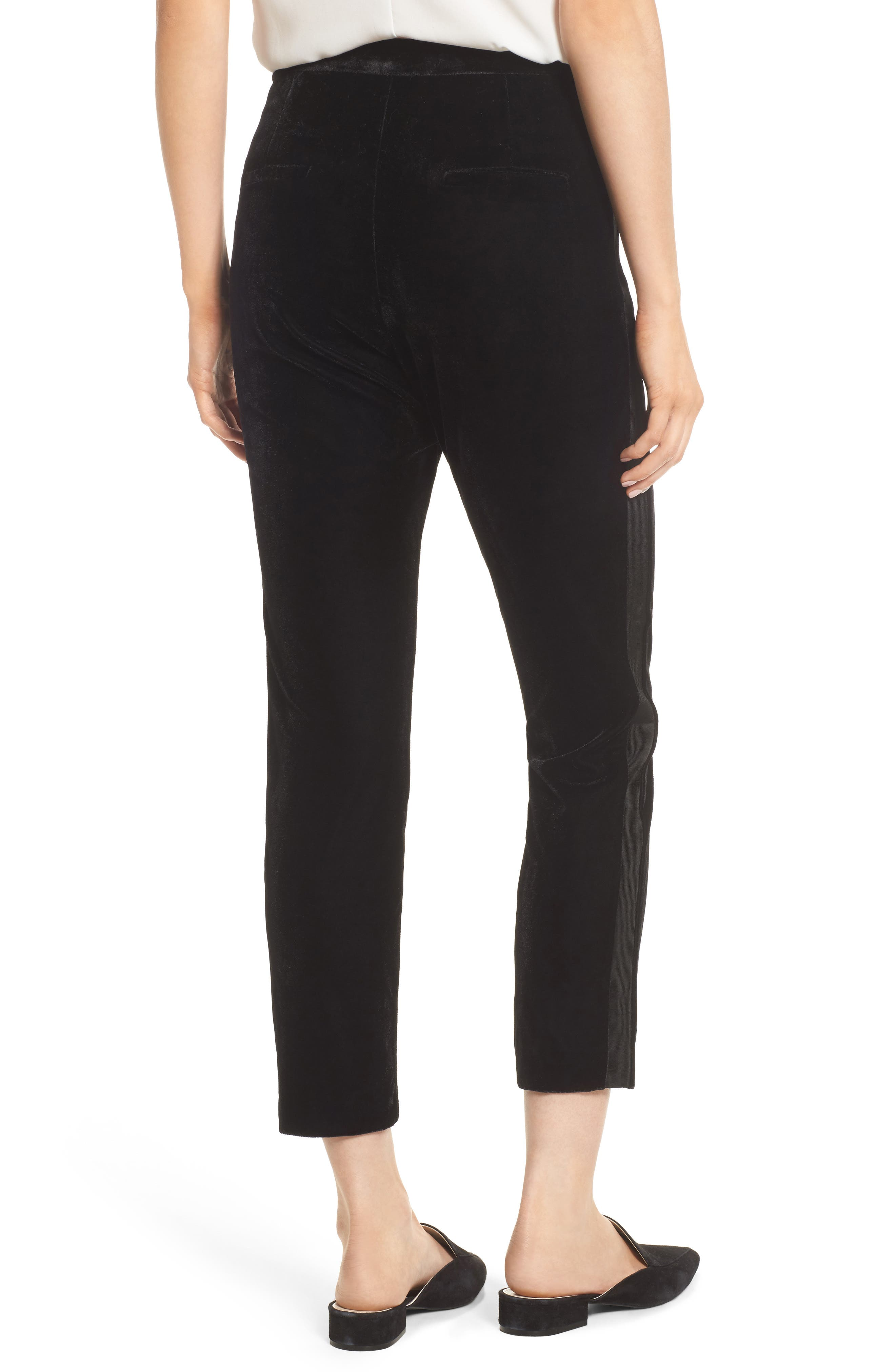 Evalina Velvet Crop Skinny Pants,                             Alternate thumbnail 3, color,