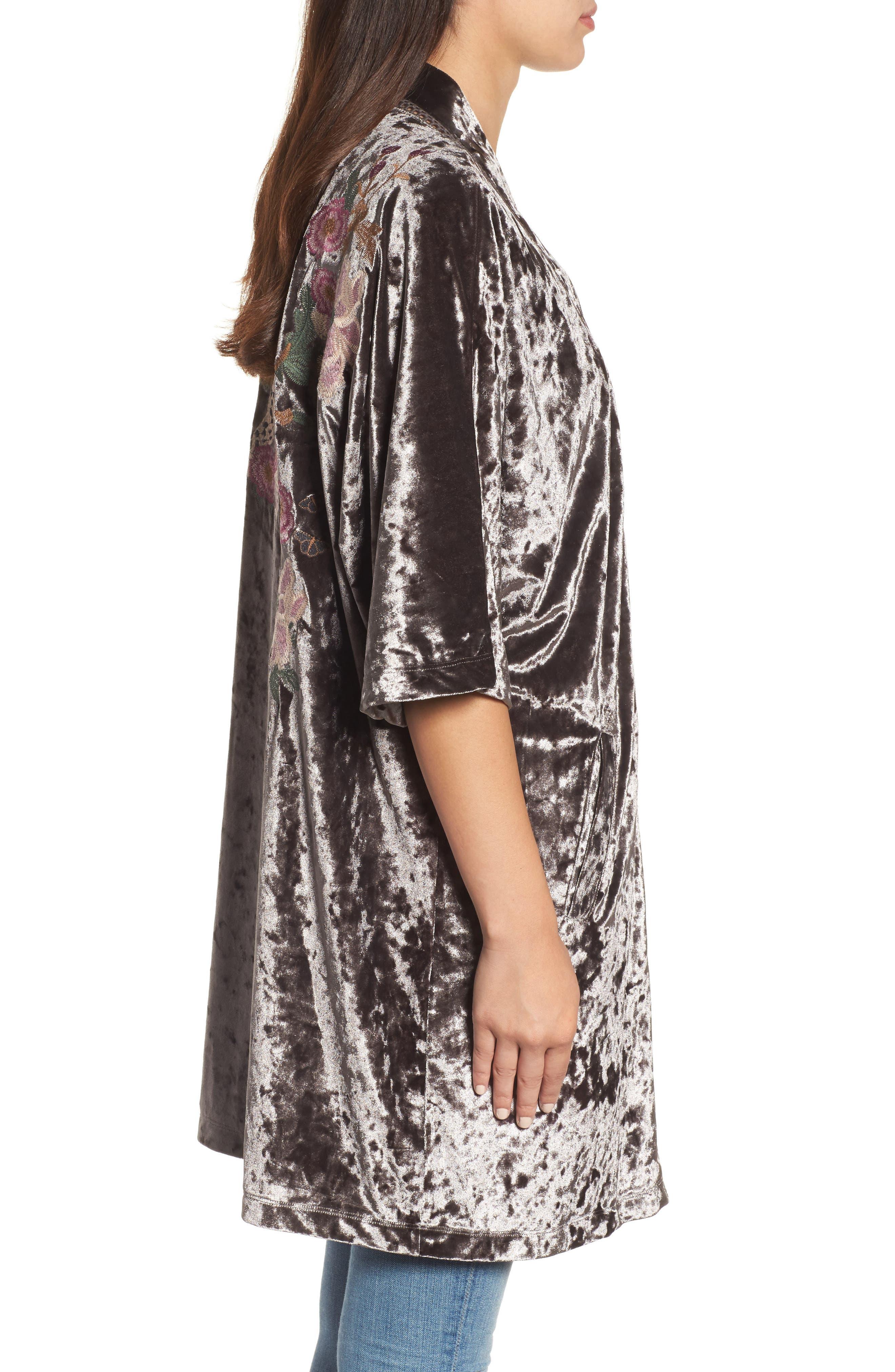 Embroidered Velvet Kimono Jacket,                             Alternate thumbnail 6, color,
