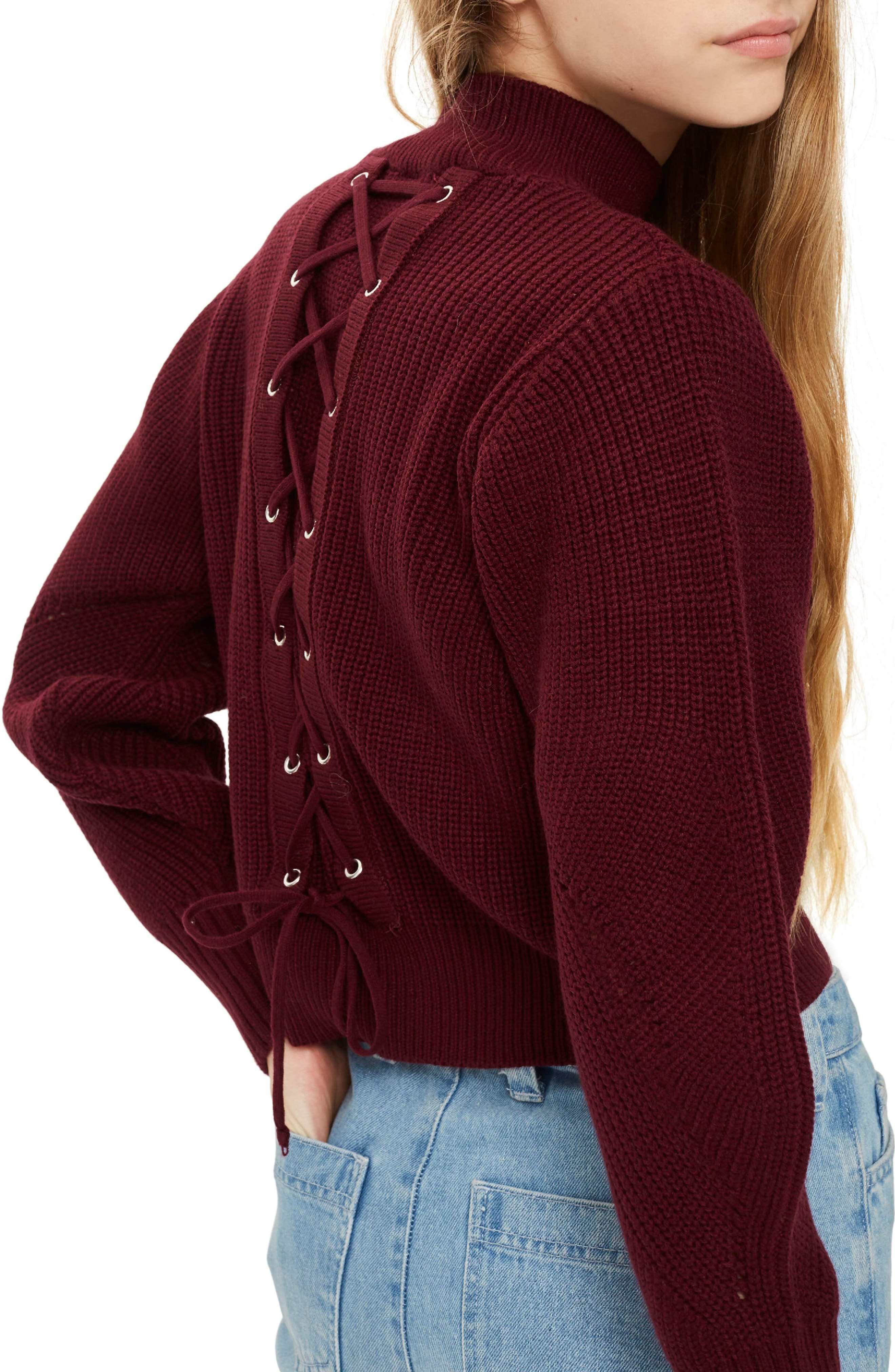 Lace-Up Back Sweater,                             Alternate thumbnail 2, color,                             640