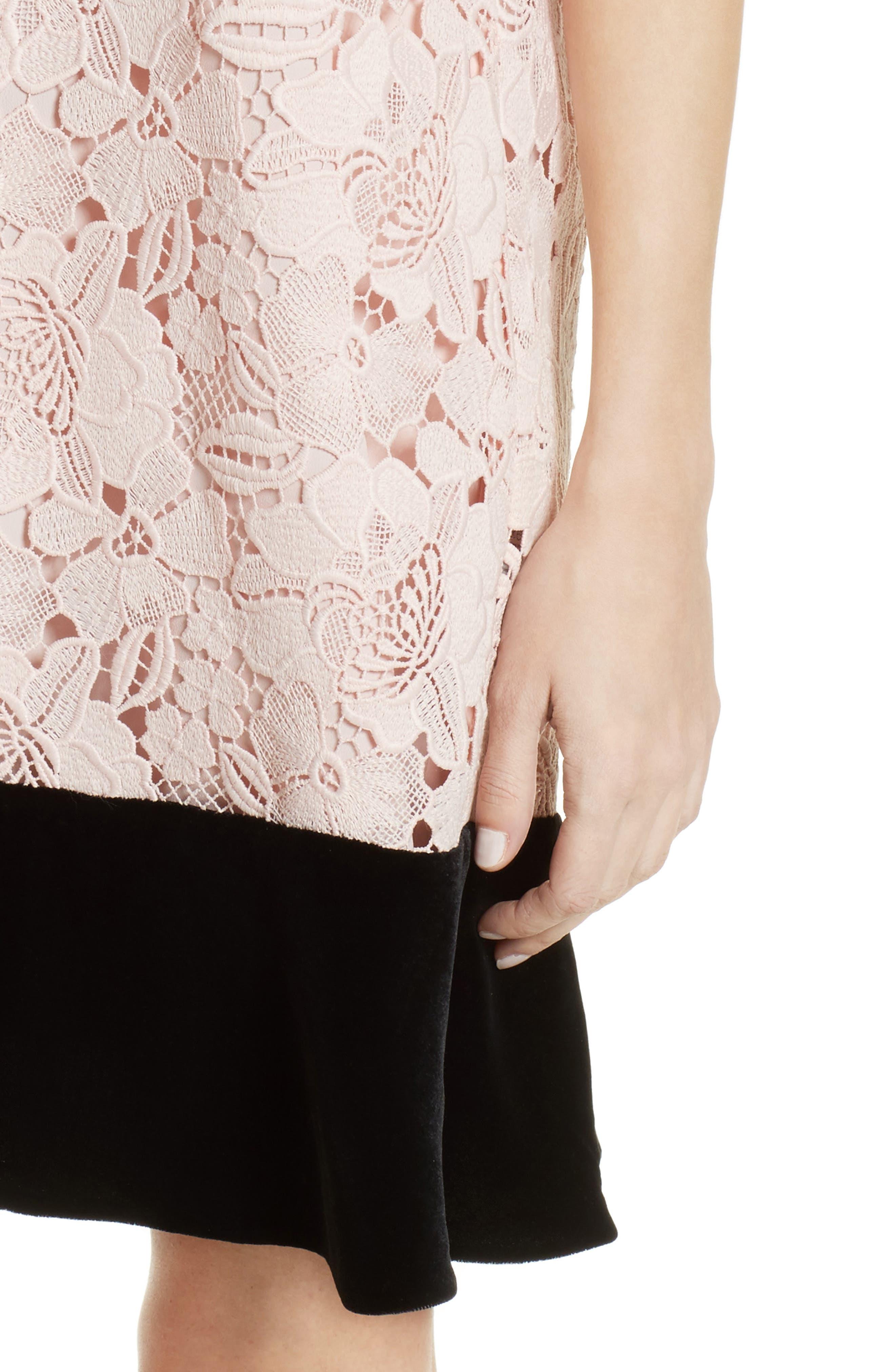 Lace & Velvet Shift Dress,                             Alternate thumbnail 4, color,                             100