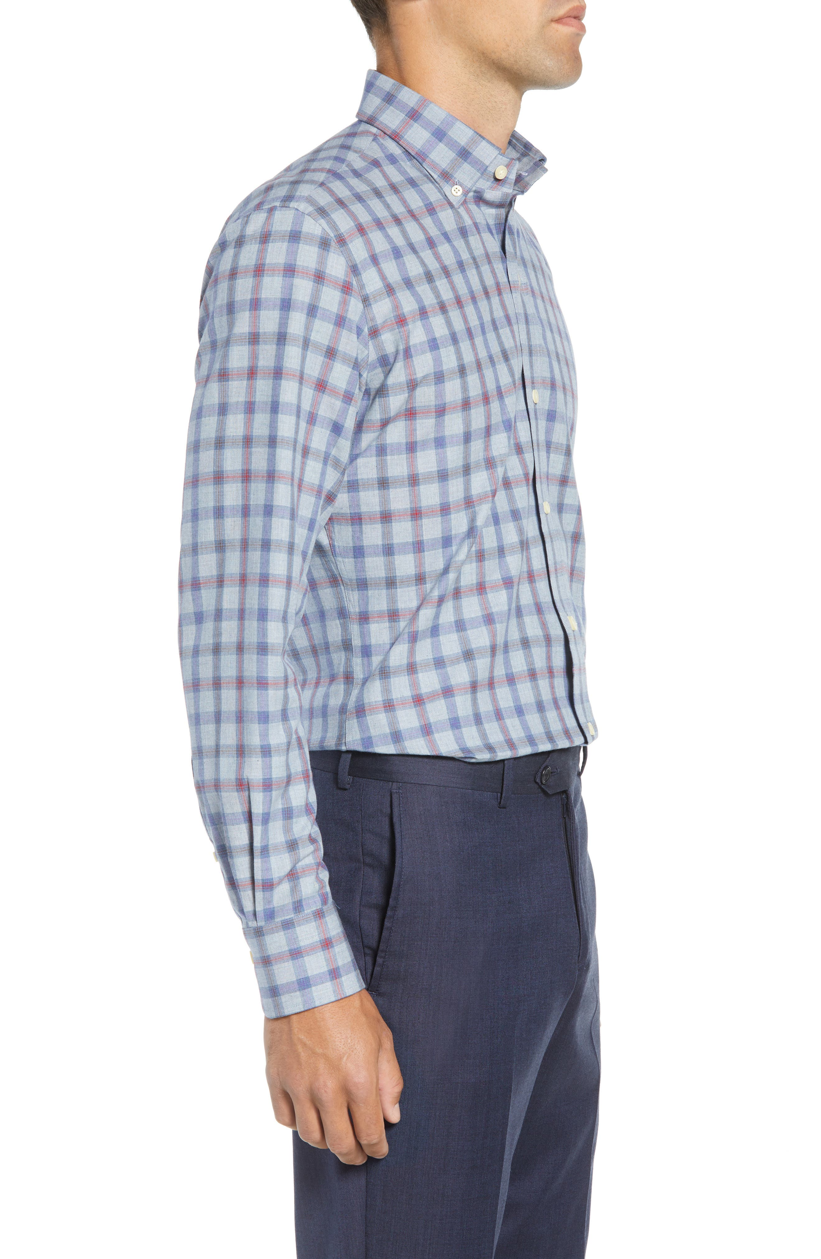 Hilbank Trim Fit Check Dress Shirt,                             Alternate thumbnail 4, color,                             CADET BLUE