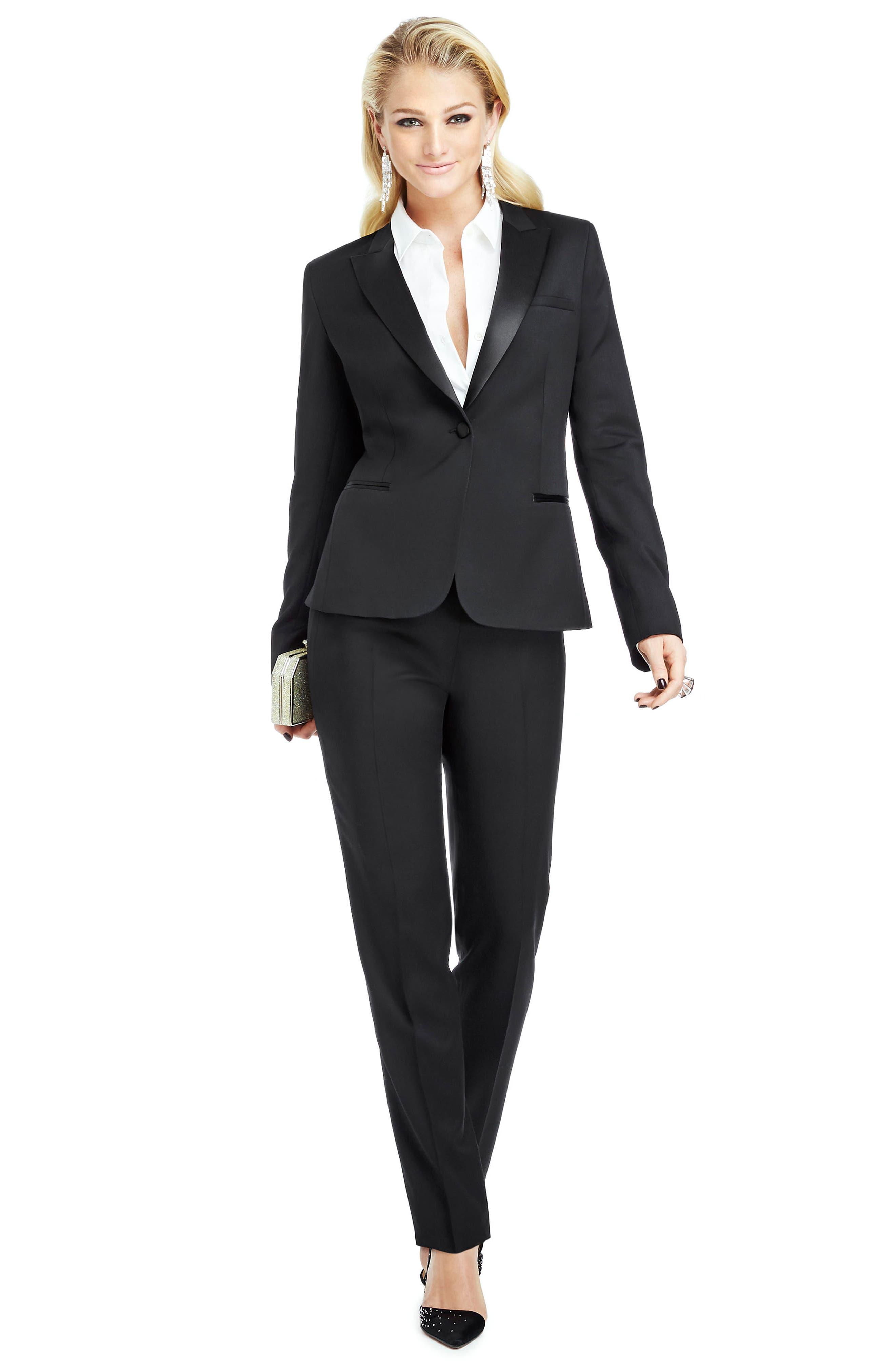Stretch Wool Tuxedo Jacket,                             Alternate thumbnail 9, color,                             BLACK