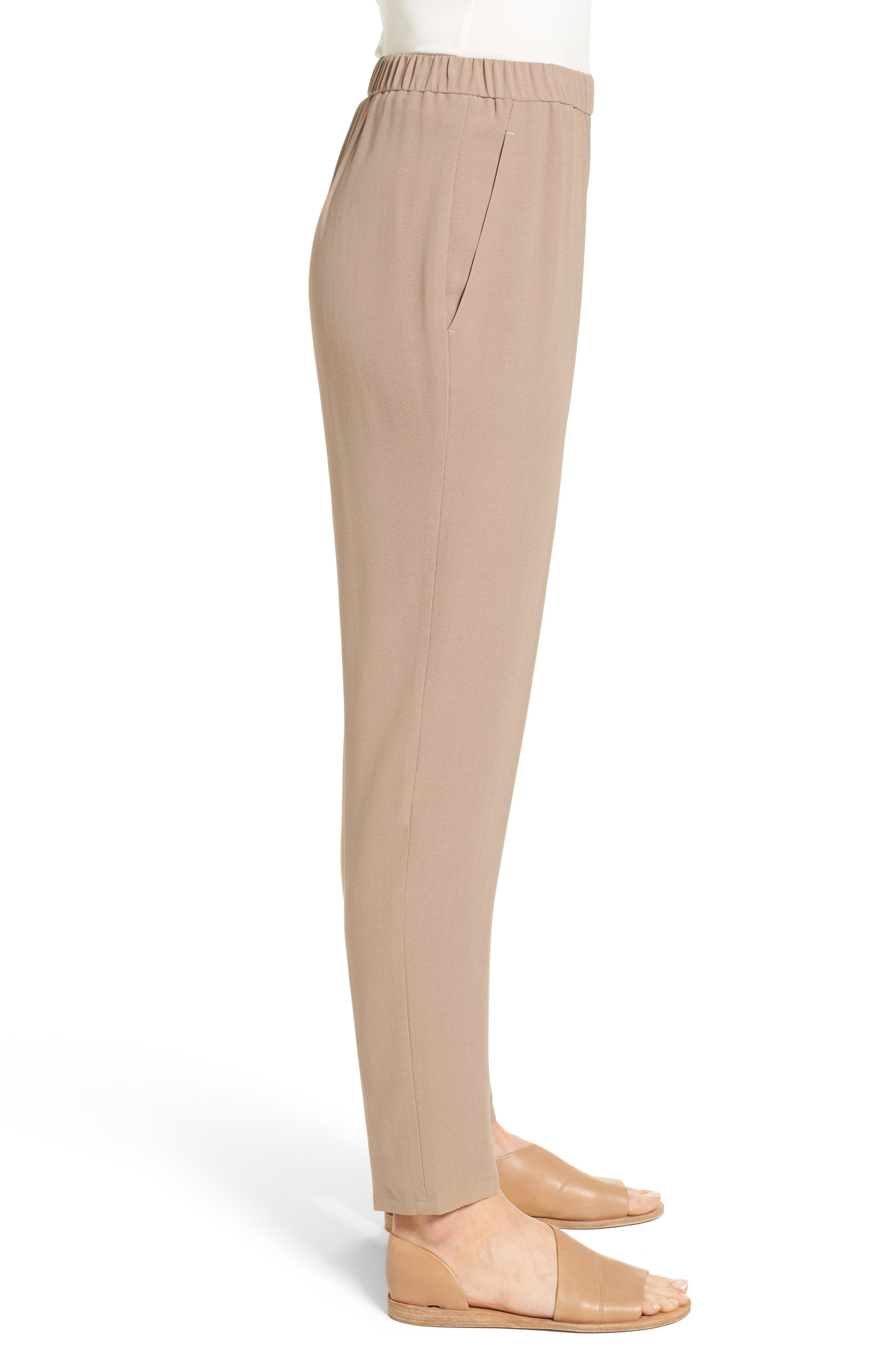 Slouchy Silk Crepe Ankle Pants,                             Alternate thumbnail 26, color,