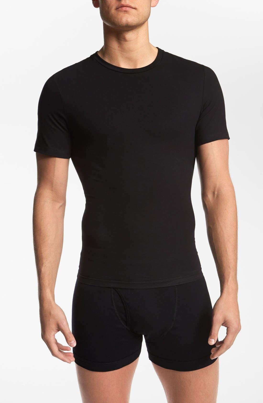 Crewneck Cotton Compression T-Shirt,                             Main thumbnail 1, color,                             BLACK
