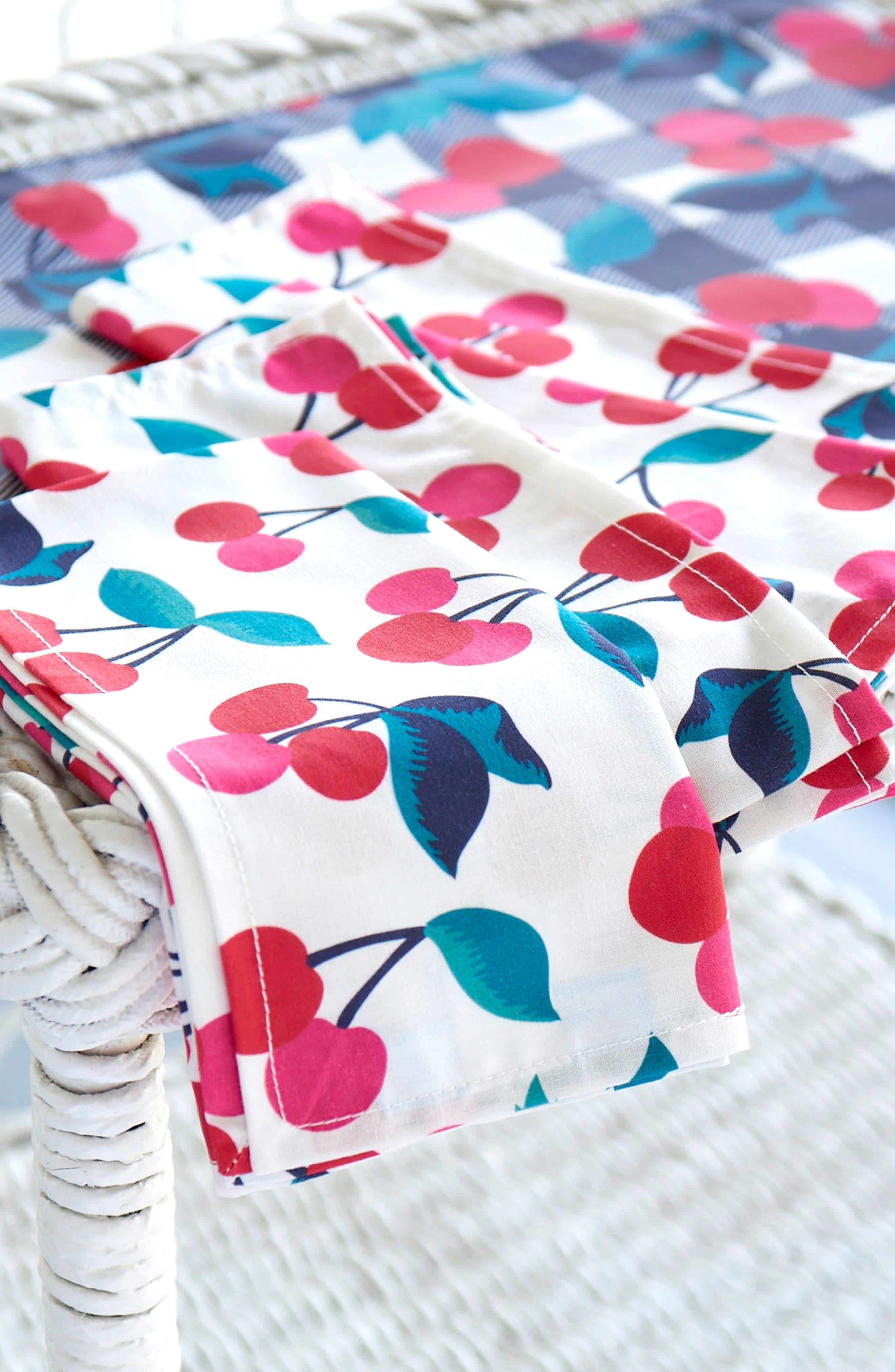 Set of 4 Cherry Print Cloth Napkins,                             Alternate thumbnail 3, color,                             600