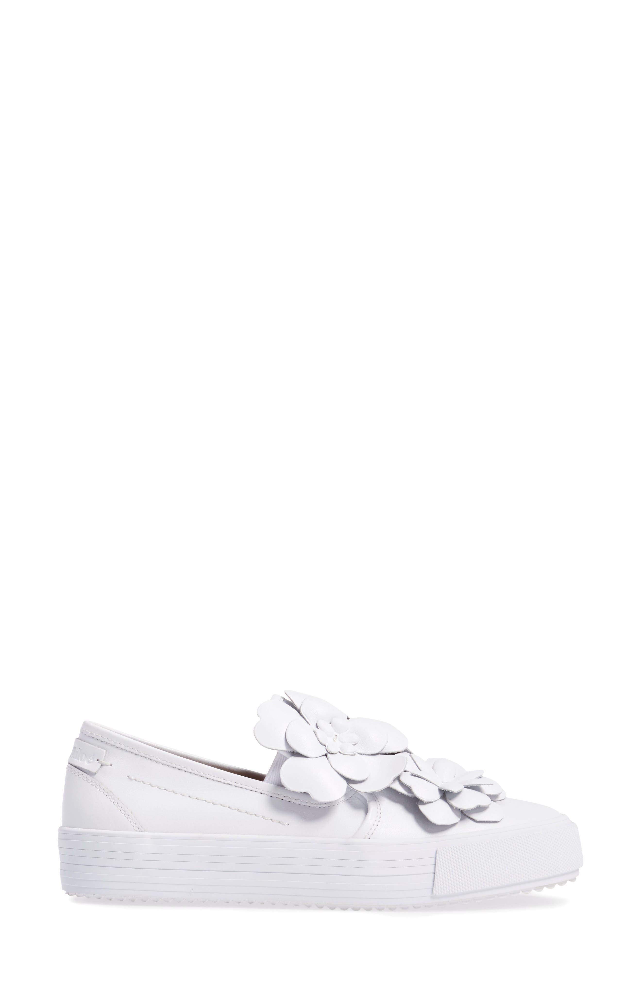 Vera Floral Appliqué Slip-On Sneaker,                             Alternate thumbnail 3, color,                             WHITE
