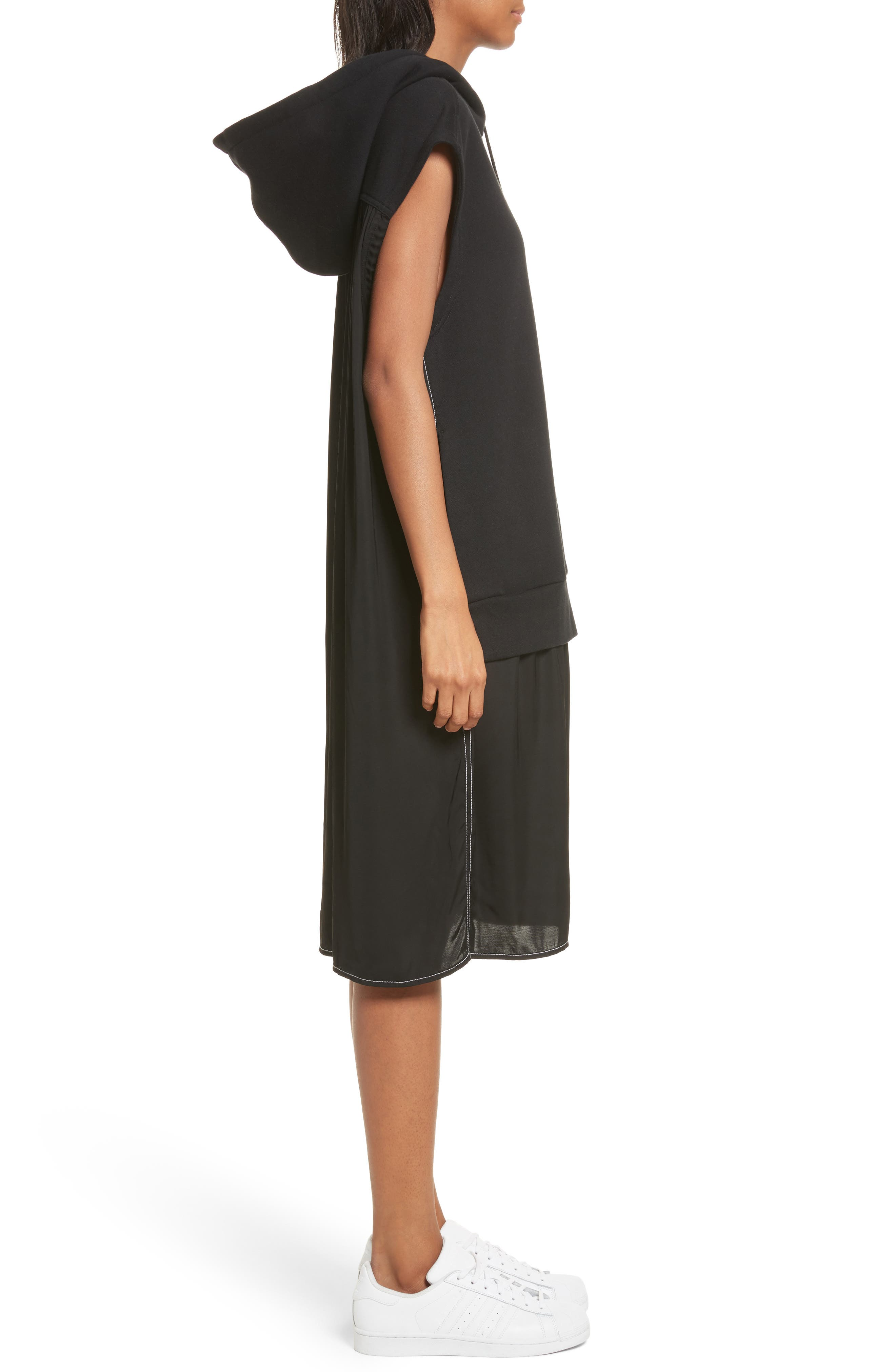 Allison Cotton Hoodie Dress,                             Alternate thumbnail 3, color,                             001