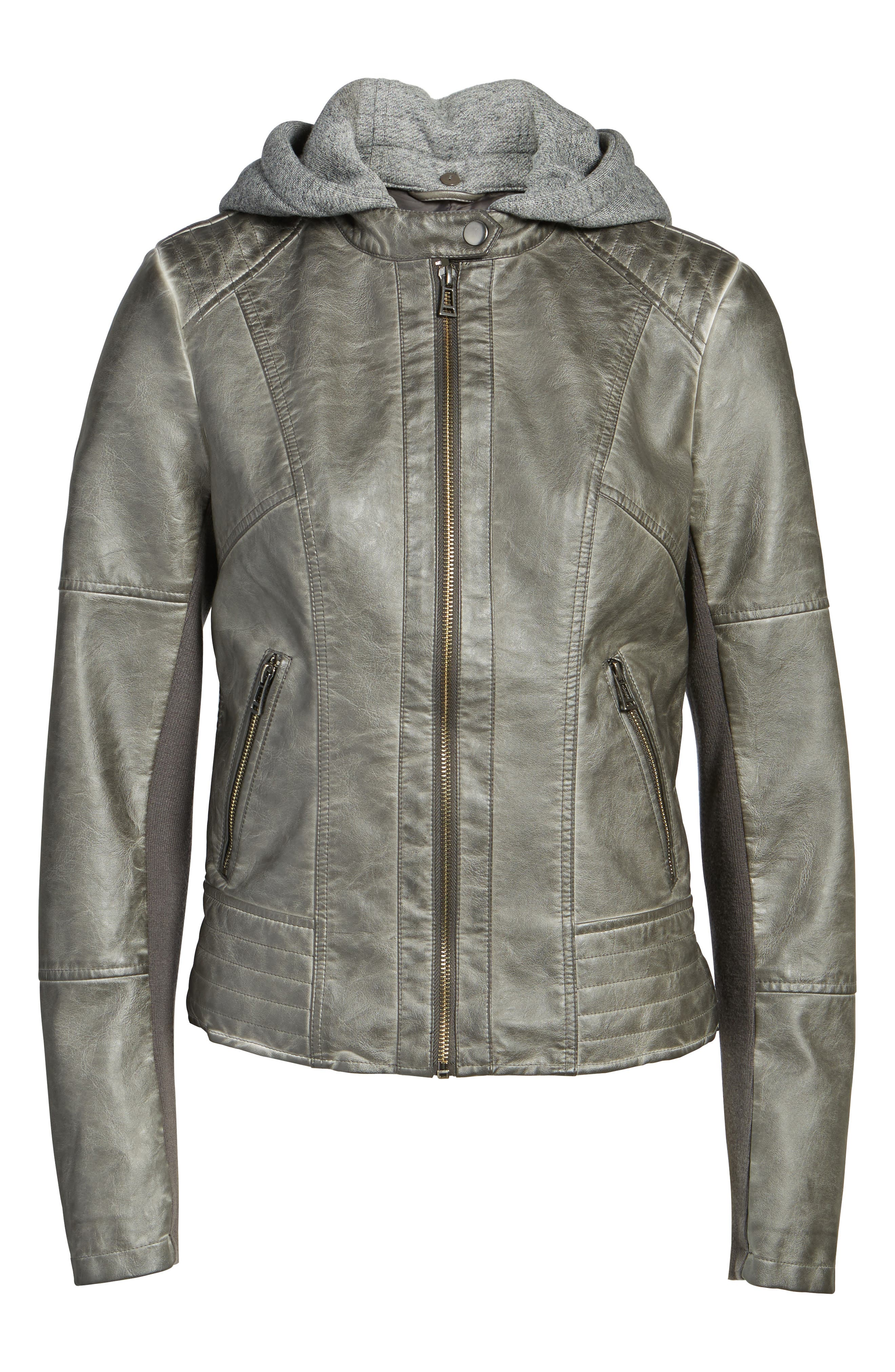 Faux Leather Jacket with Detachable Jersey Hood,                             Alternate thumbnail 5, color,                             020