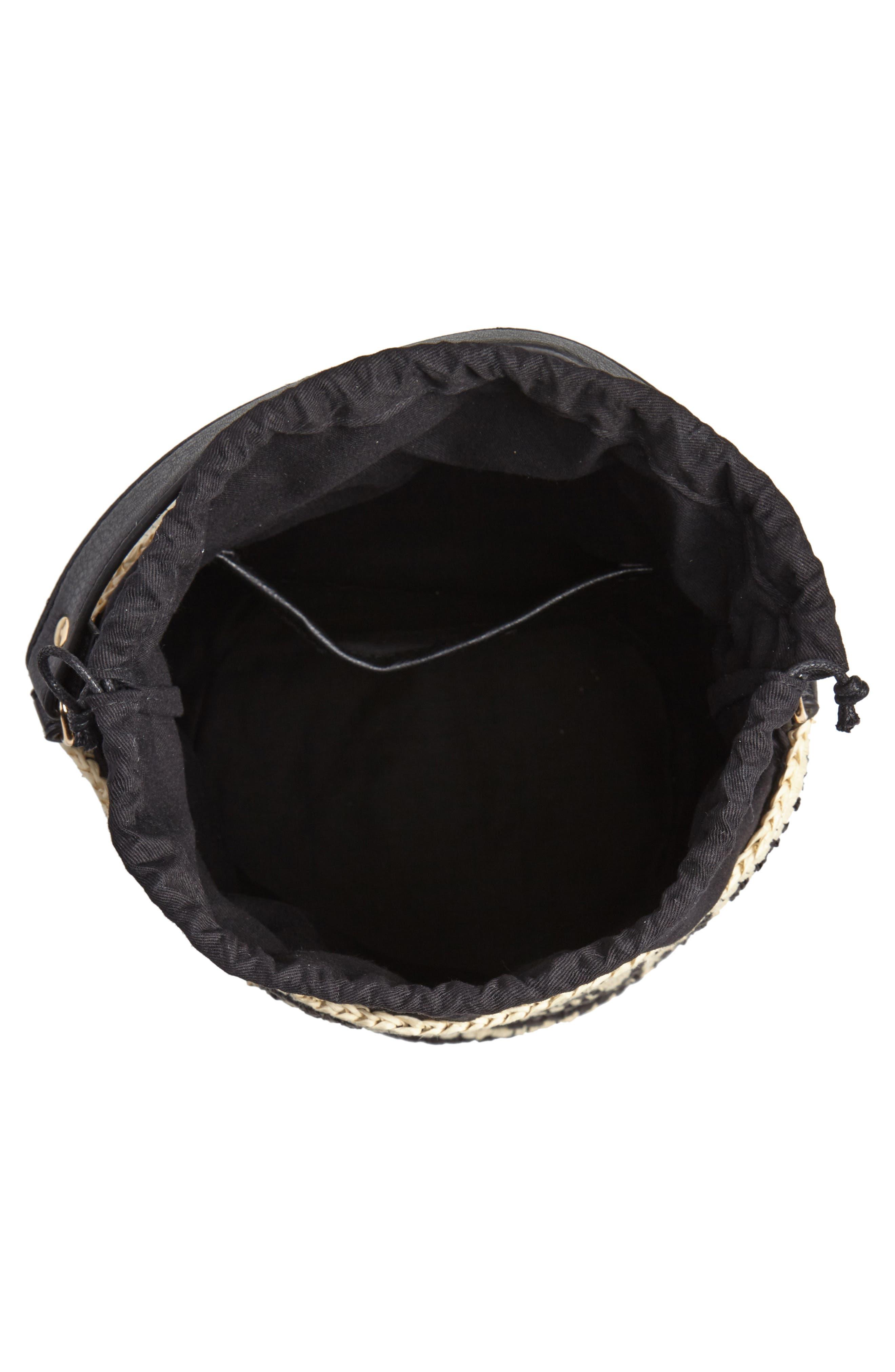 Talula Woven Raffia Bucket Bag,                             Alternate thumbnail 4, color,                             BLACK