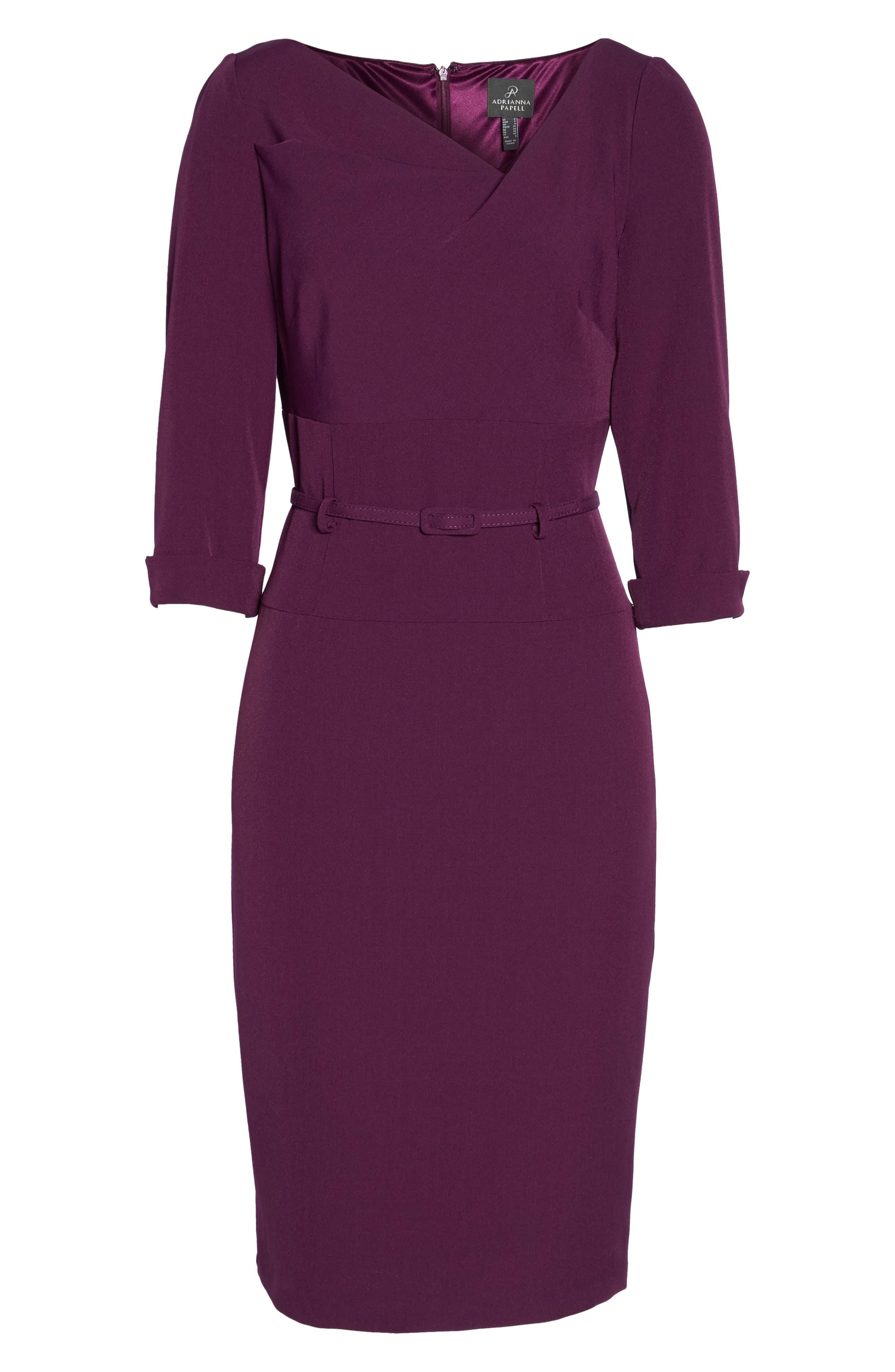 Belted Crepe Sheath Dress,                             Alternate thumbnail 7, color,                             606