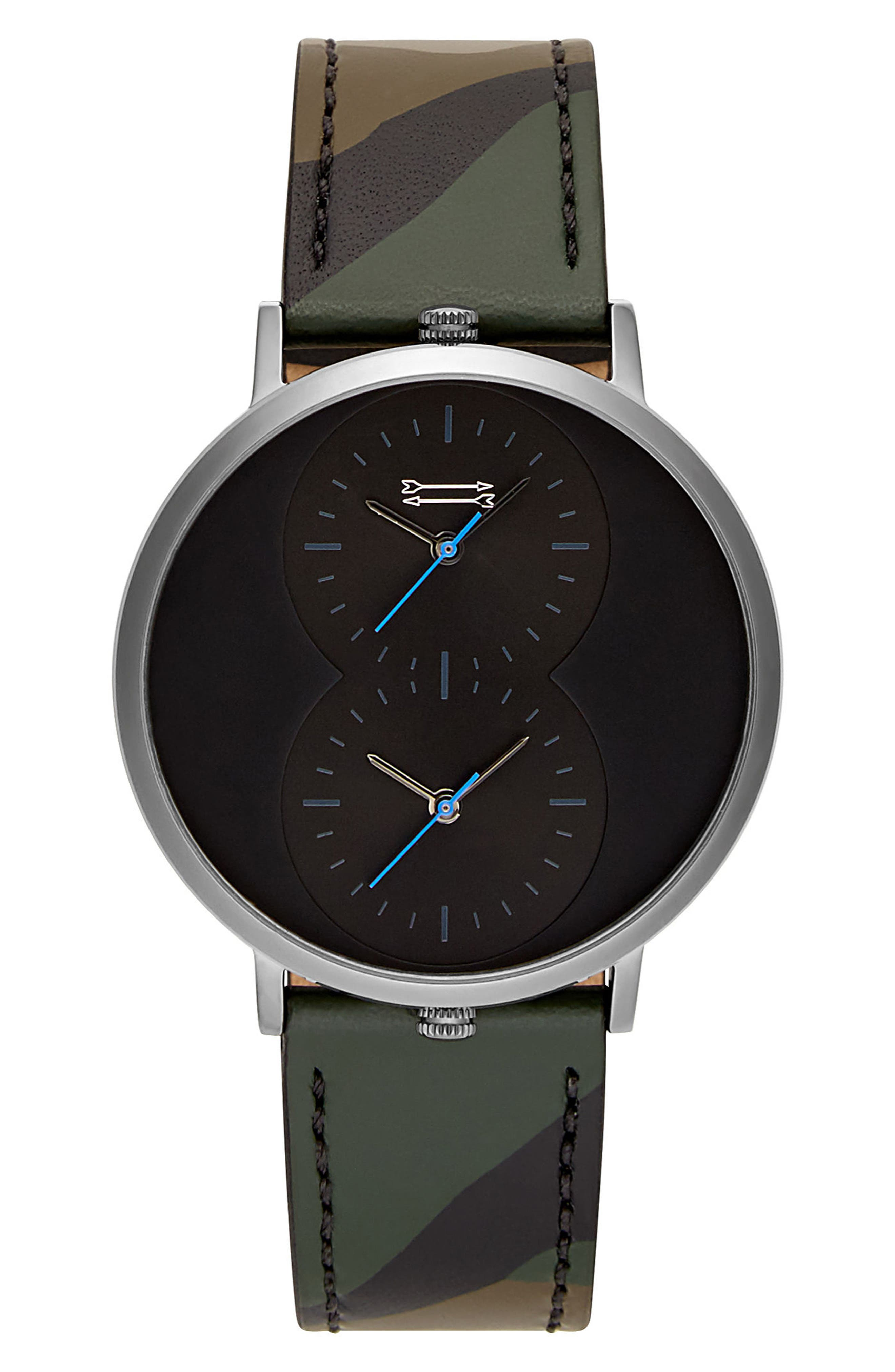 URI MINKOFF,                             Griffith Leather Strap Watch, 43mm,                             Main thumbnail 1, color,                             CAMO/ BLACK/ GUNMETAL