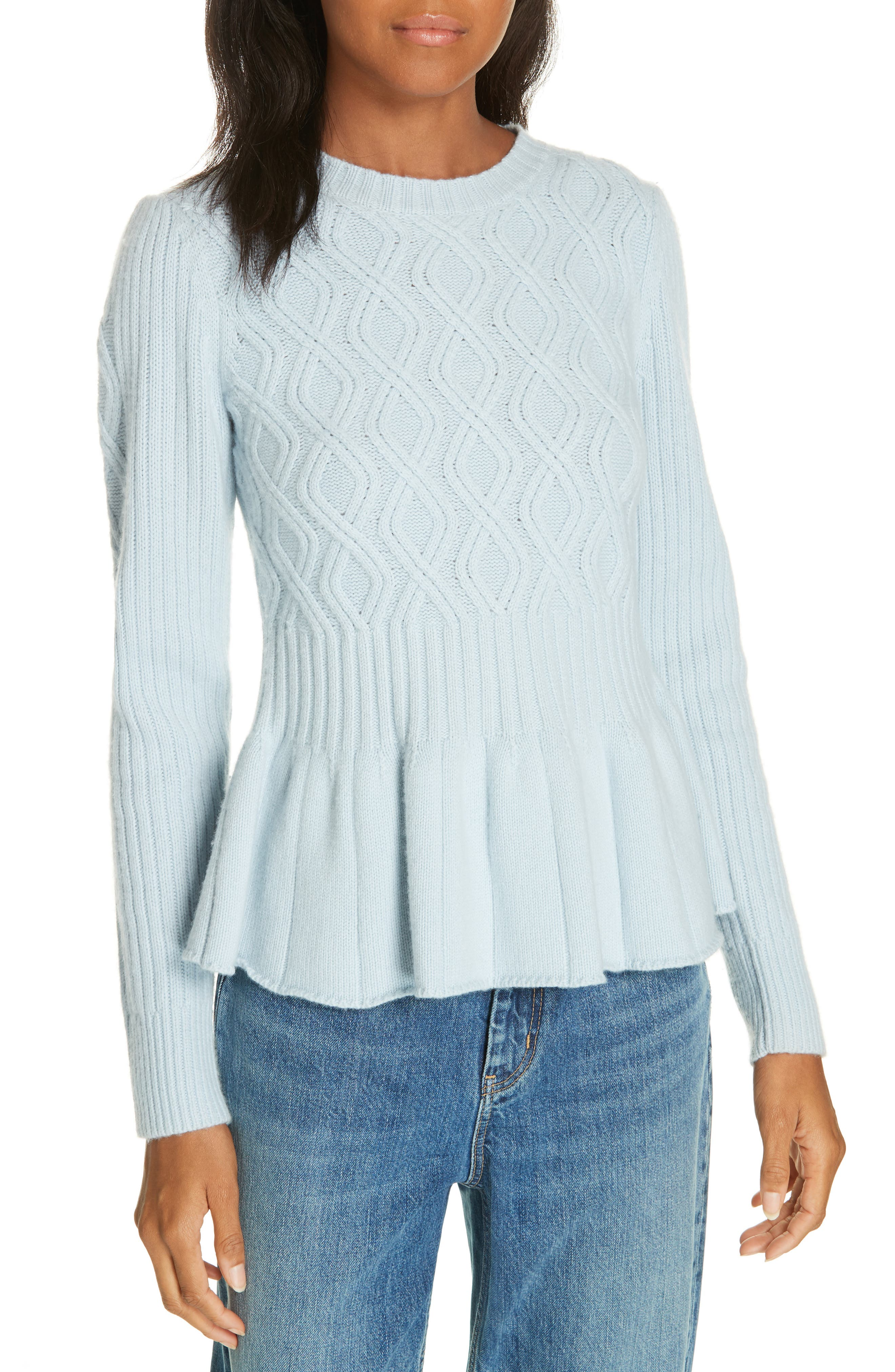 La Vie Rebecca Taylor Spiral Cable Wool Blend Sweater, Blue