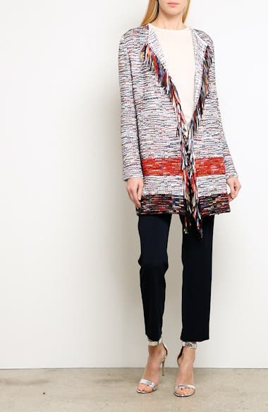 Vertical Fringe Multi Tweed Knit Waterfall Cardigan, video thumbnail