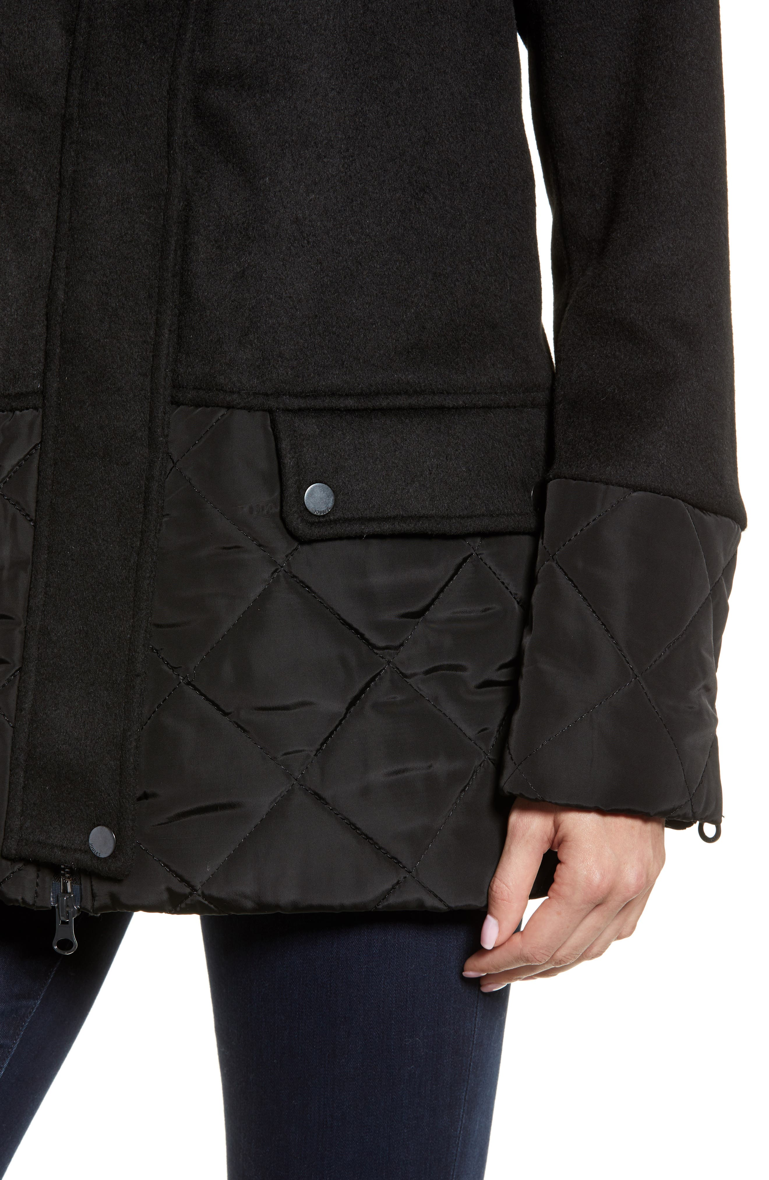 Mixed Texture Hooded Coat with Faux Fur Trim,                             Alternate thumbnail 4, color,                             BLACK