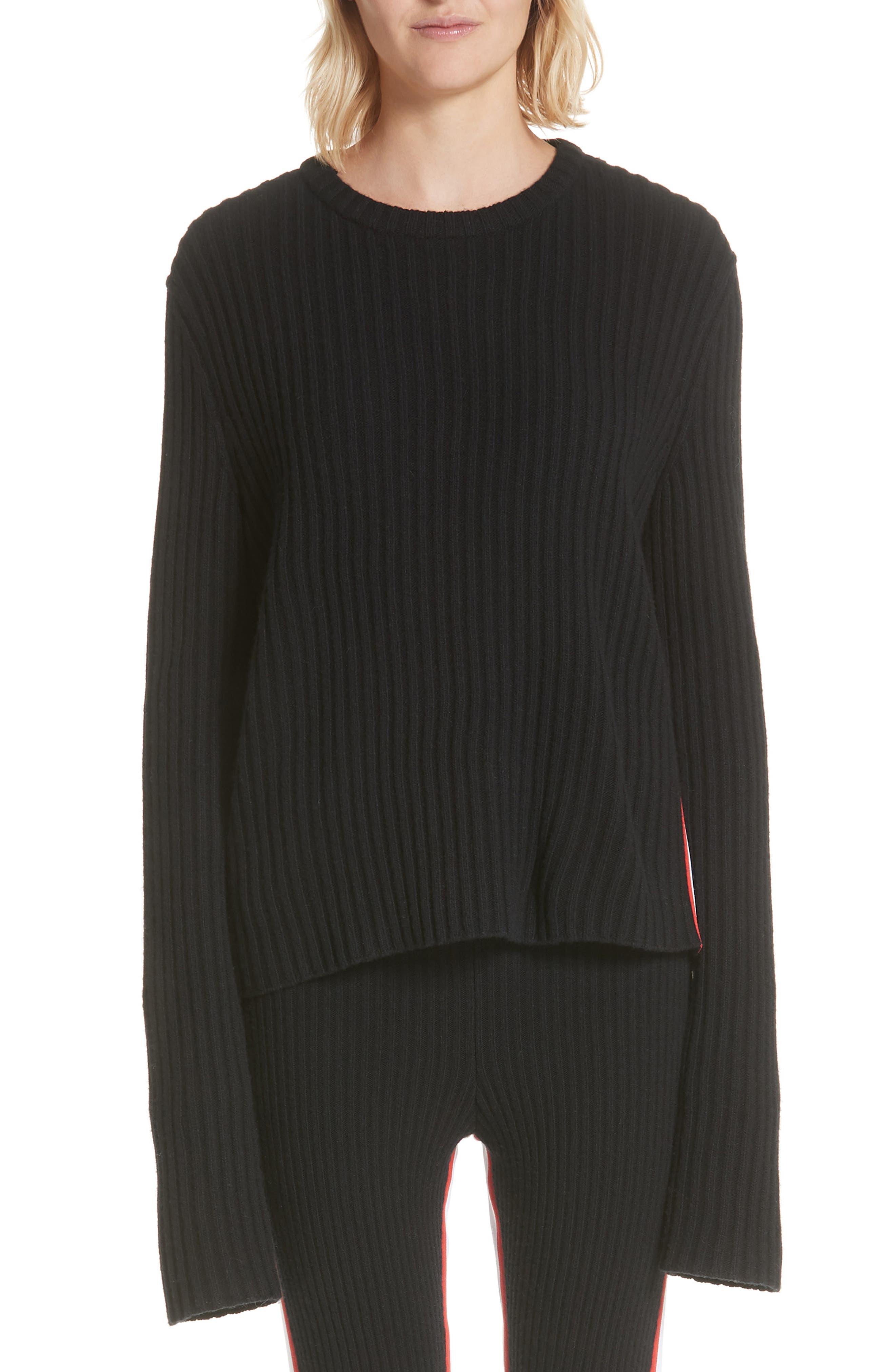 Calvin Klein 205W39Nyc Side Stripe Wool Blend Sweater, Black