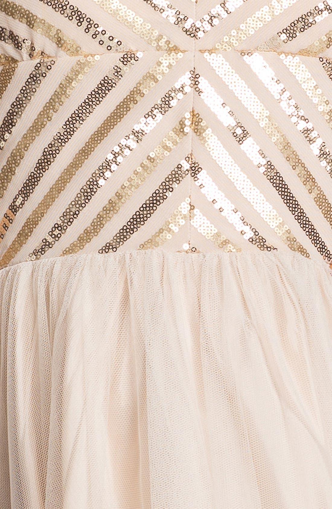 Aidan by Aidan Mattox Spaghetti Strap Sequin & Tulle Dress,                             Alternate thumbnail 3, color,                             250