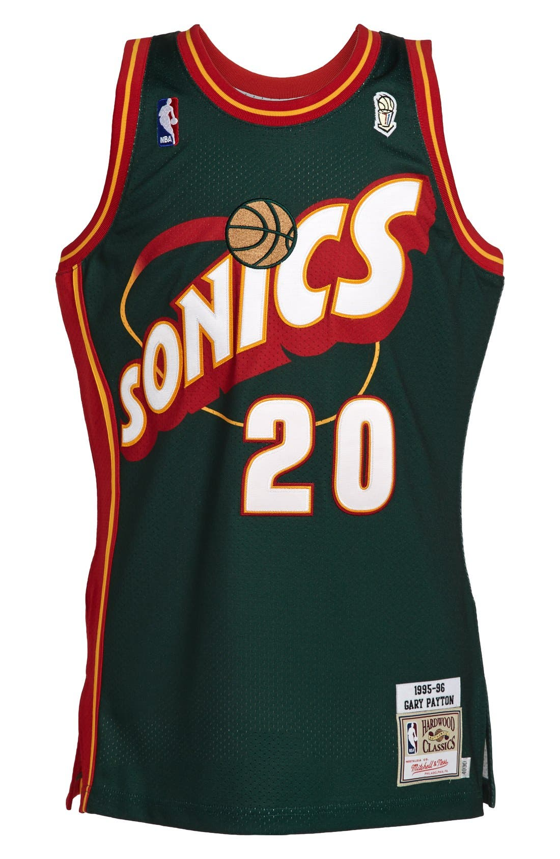 MITCHELL & NESS,                             'Seattle SuperSonics 1995-1996 - Gary Payton Authentic' Road Jersey,                             Main thumbnail 1, color,                             301