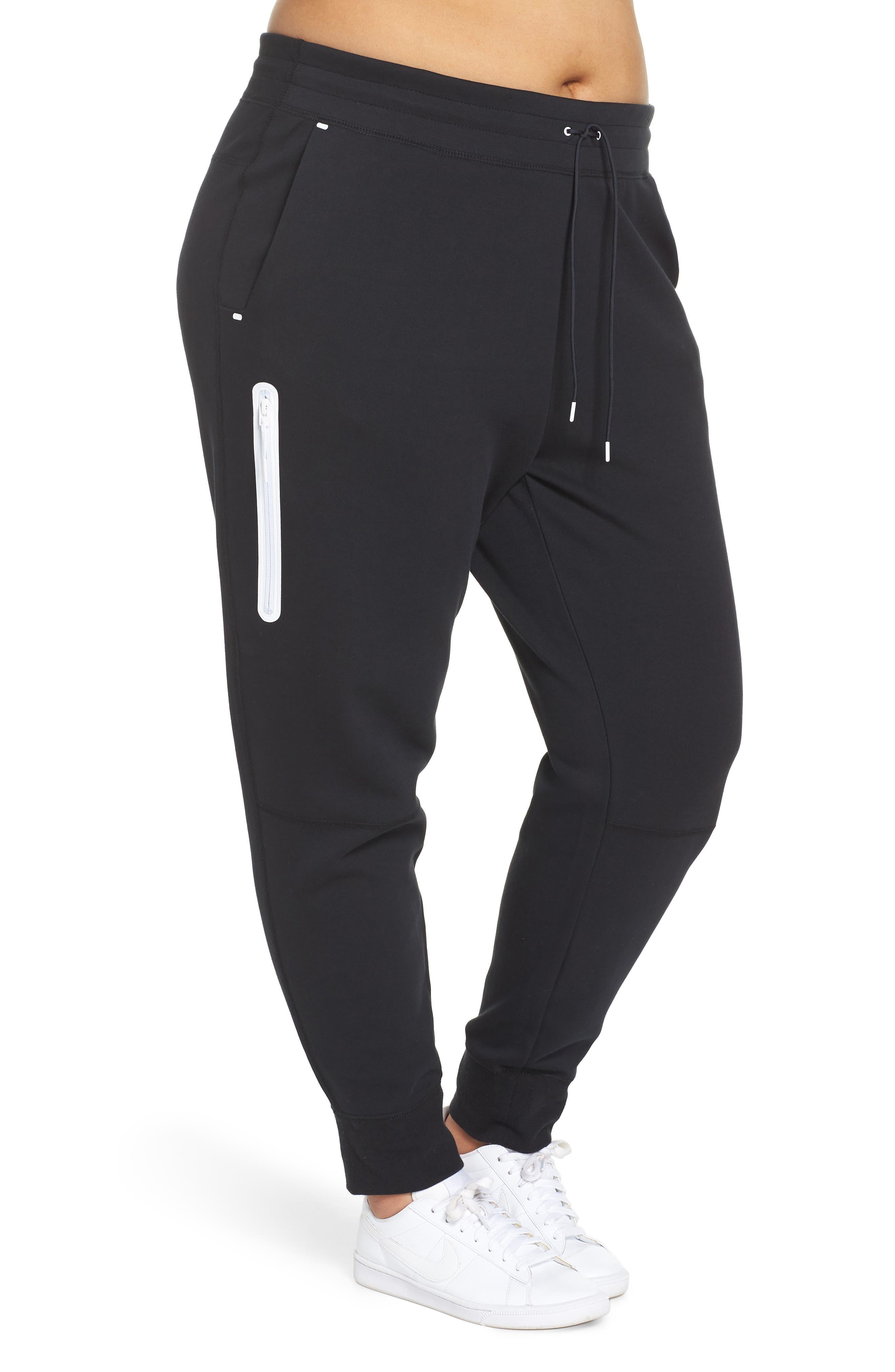 Sportswear High Rise Tech Fleece Jogger Pants,                             Alternate thumbnail 3, color,                             BLACK/ BLACK/ WHITE