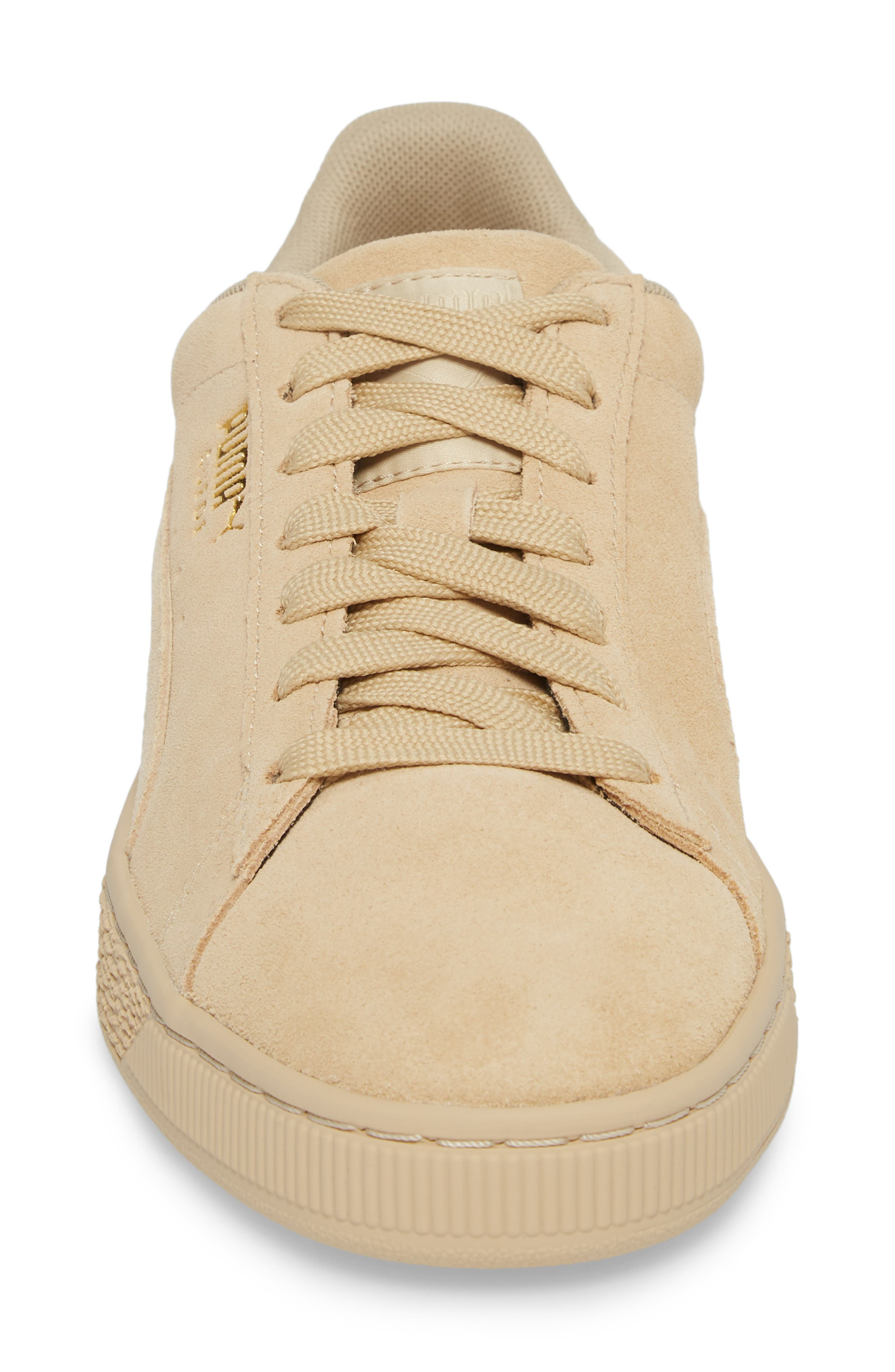 Suede Classic Tonal Sneaker,                             Alternate thumbnail 4, color,                             PEBBLE SUEDE