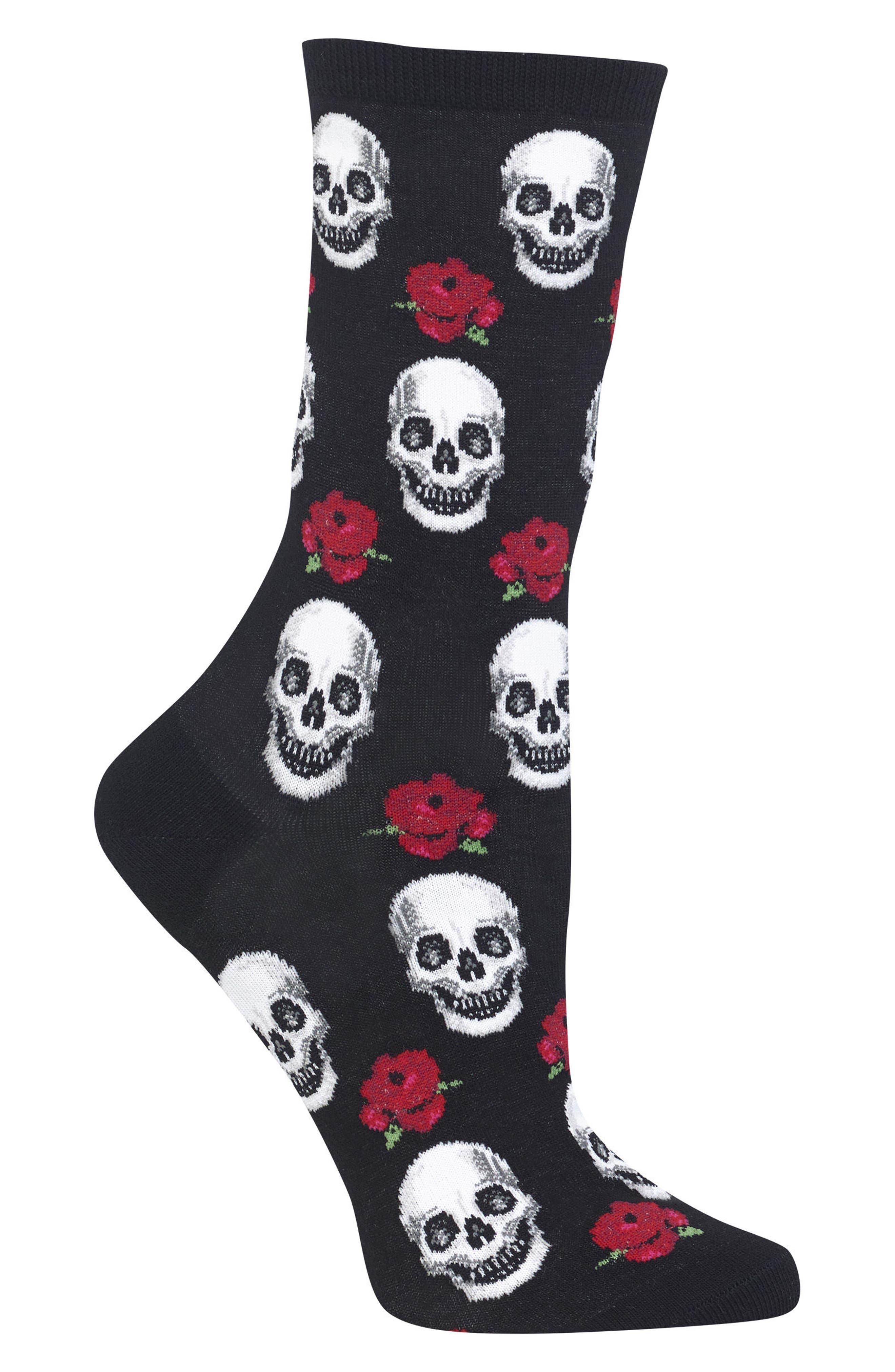 Skull & Roses Crew Socks,                             Alternate thumbnail 2, color,                             001