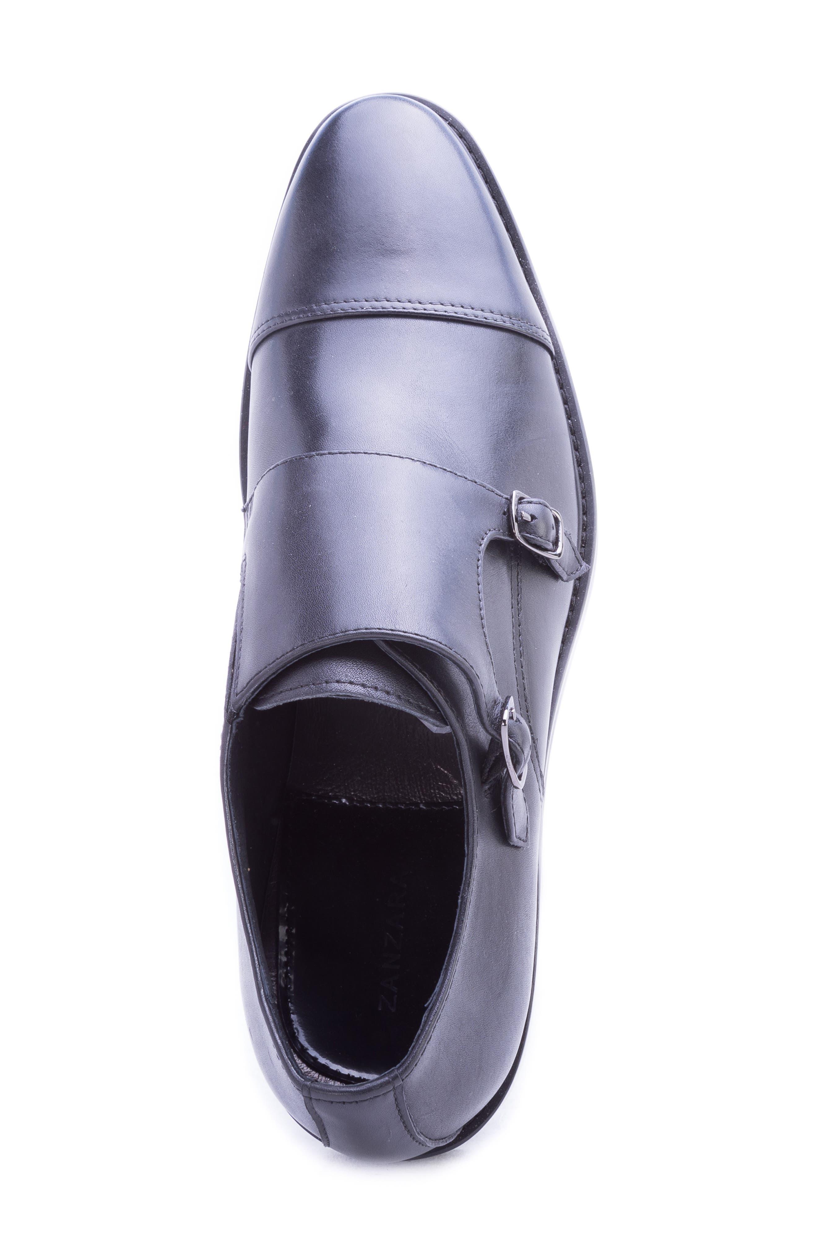 Catlett Double Monk Strap Shoe,                             Alternate thumbnail 5, color,                             BLACK LEATHER