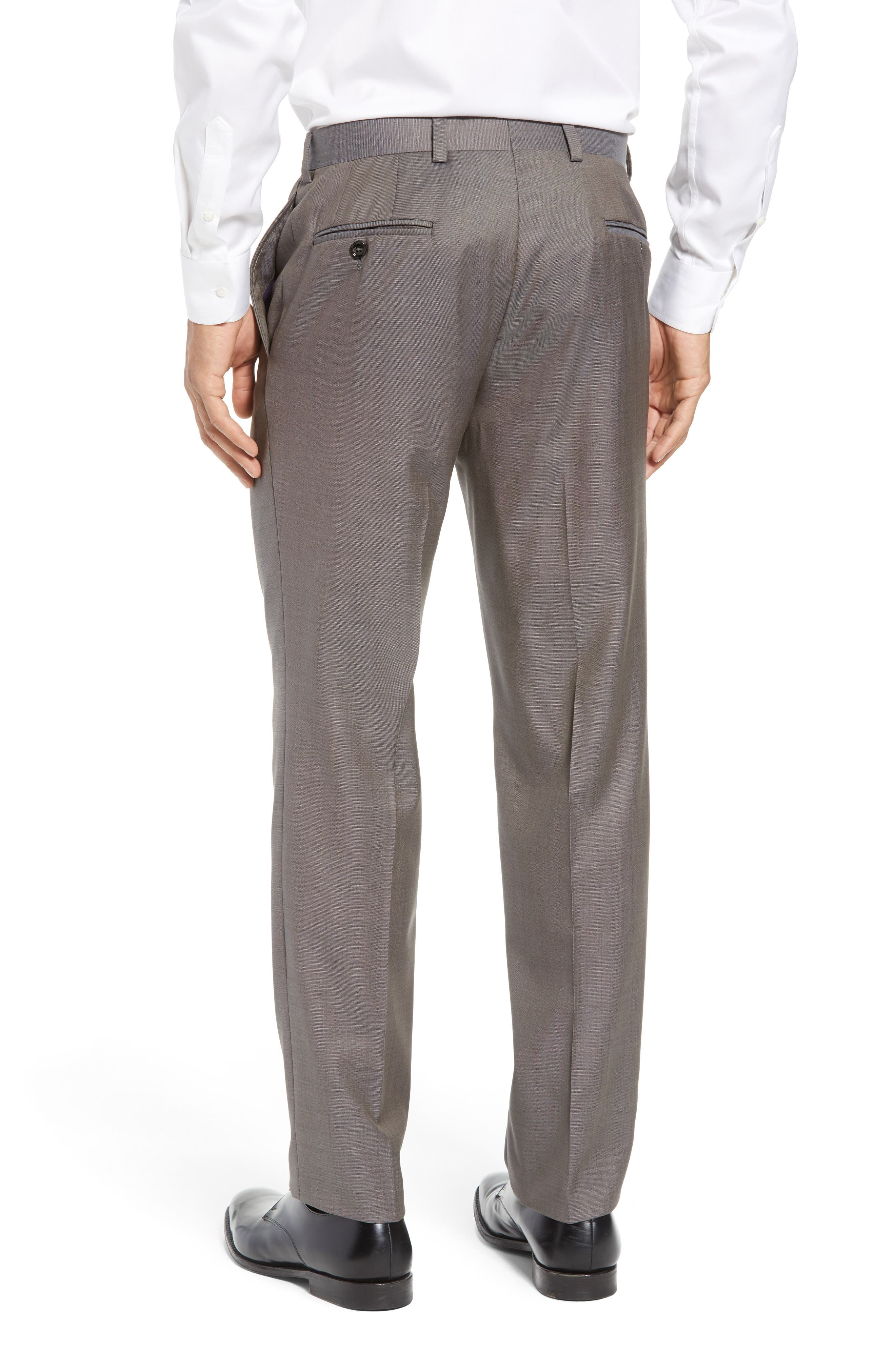 Jefferson Flat Front Wool Trousers,                             Alternate thumbnail 15, color,