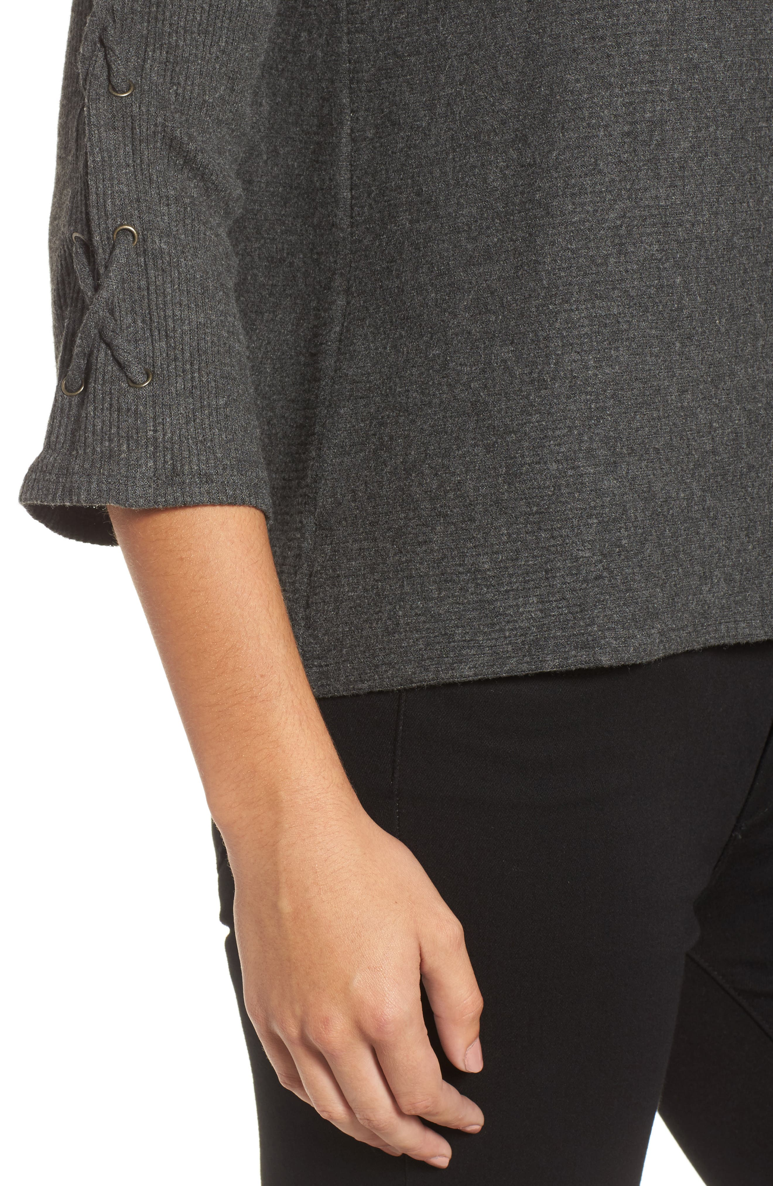 Lace-Up Sleeve Ribbed Top,                             Alternate thumbnail 4, color,                             056