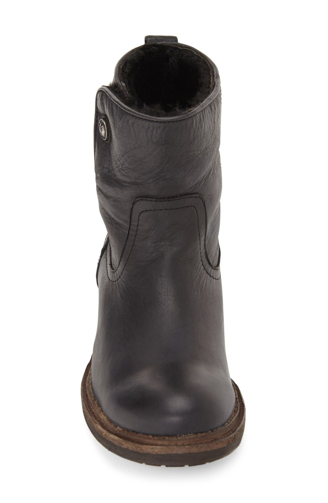 'Mara' Button Genuine Shearling Lined Short Boot,                             Alternate thumbnail 3, color,                             001