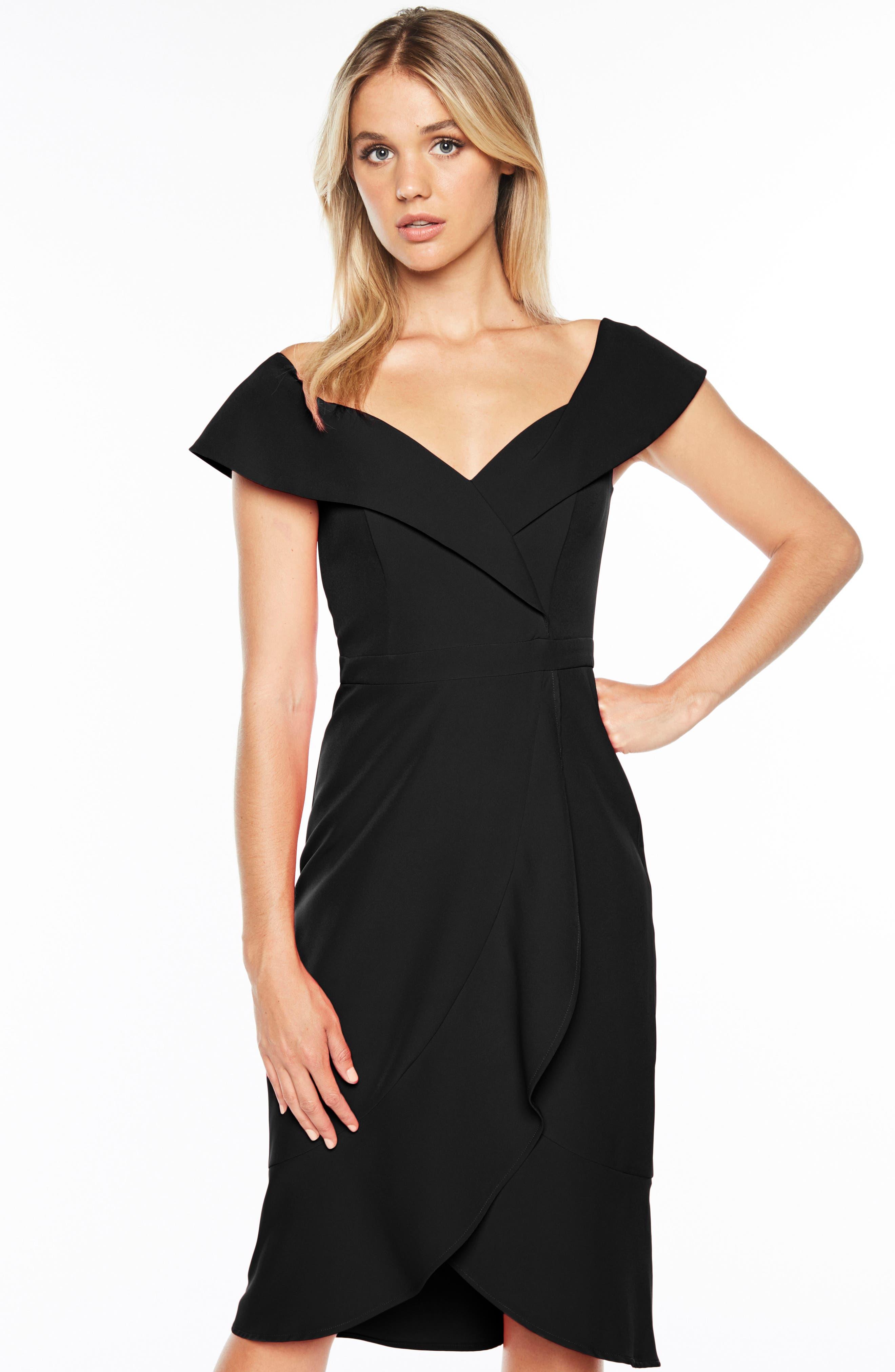 Bella Tulip Hem Dress,                             Alternate thumbnail 6, color,                             BLACK
