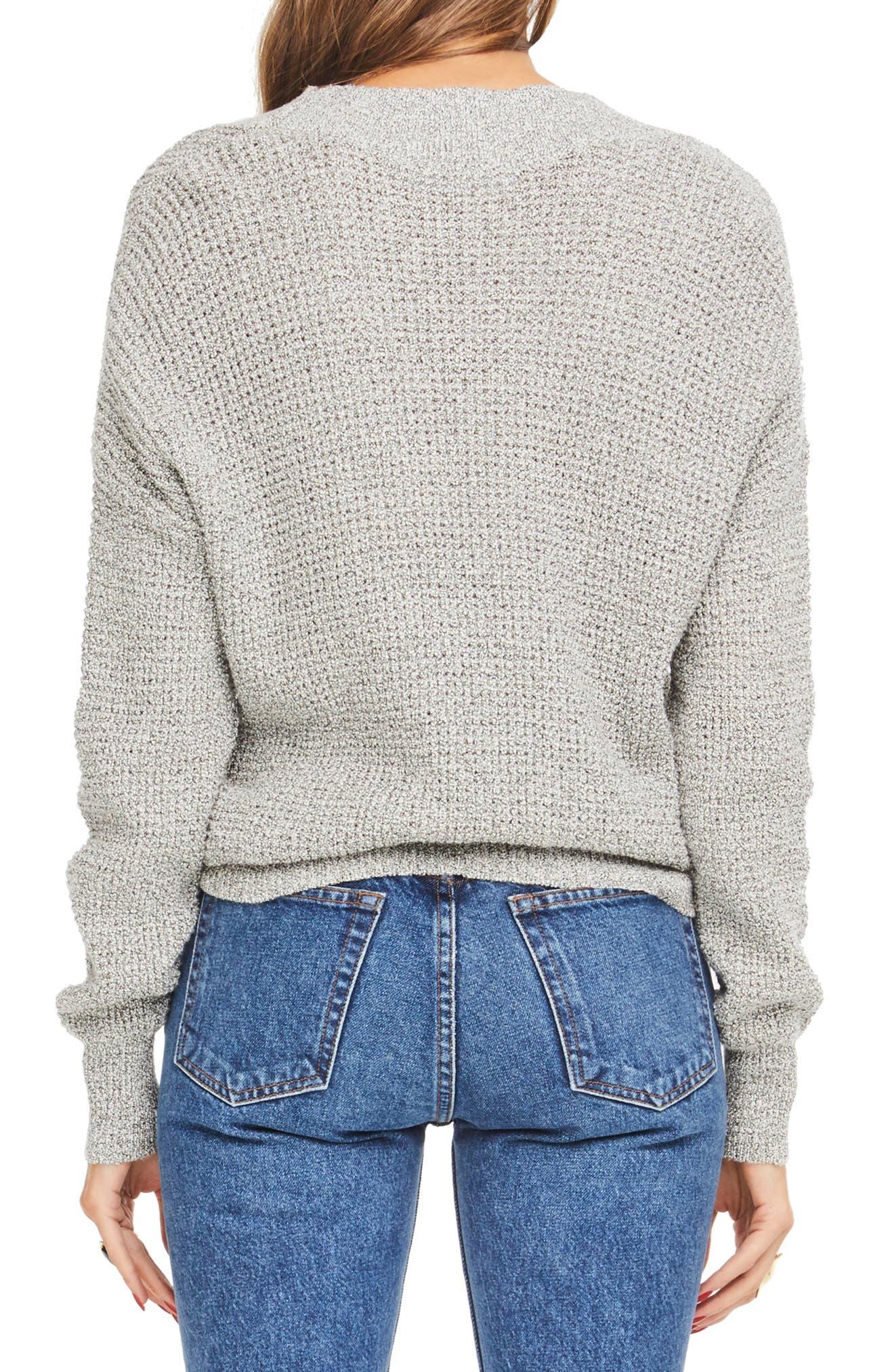 Stephanie Surplice Sweater,                             Alternate thumbnail 2, color,                             HEATHER GREY