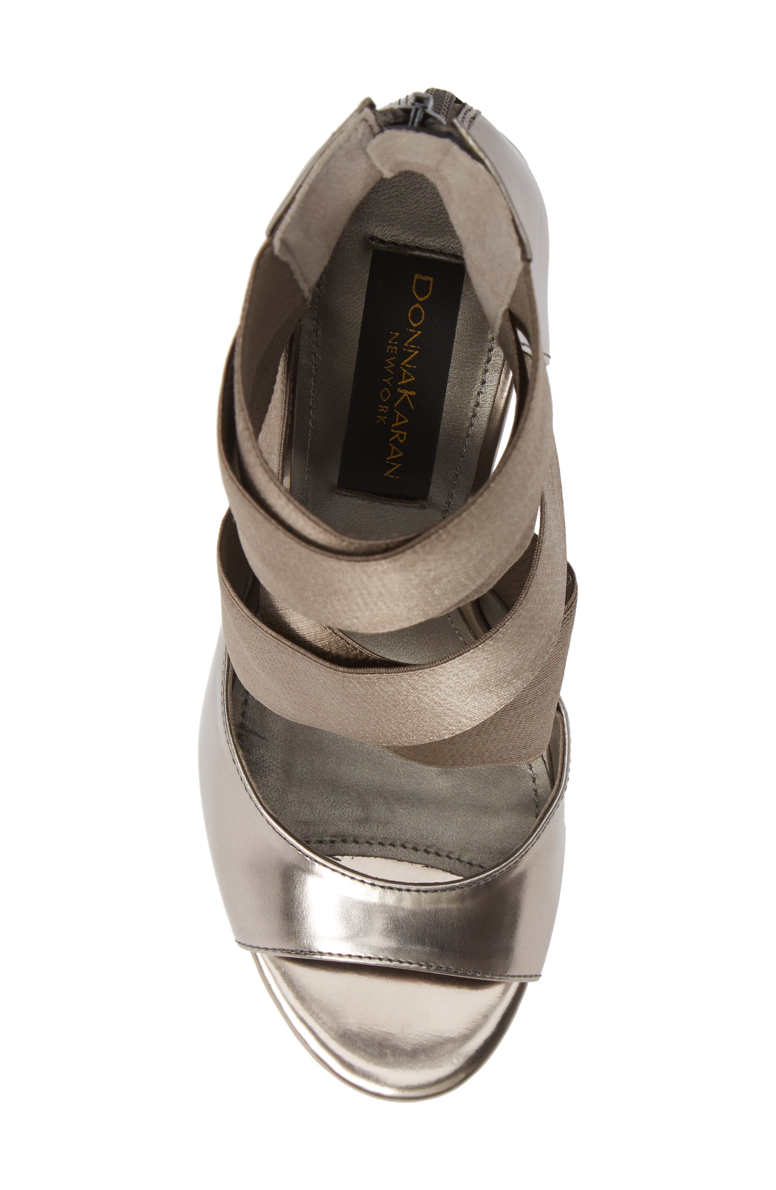 Donna Karan Briana Strappy High Sandal,                             Alternate thumbnail 5, color,                             DARK PEWTER