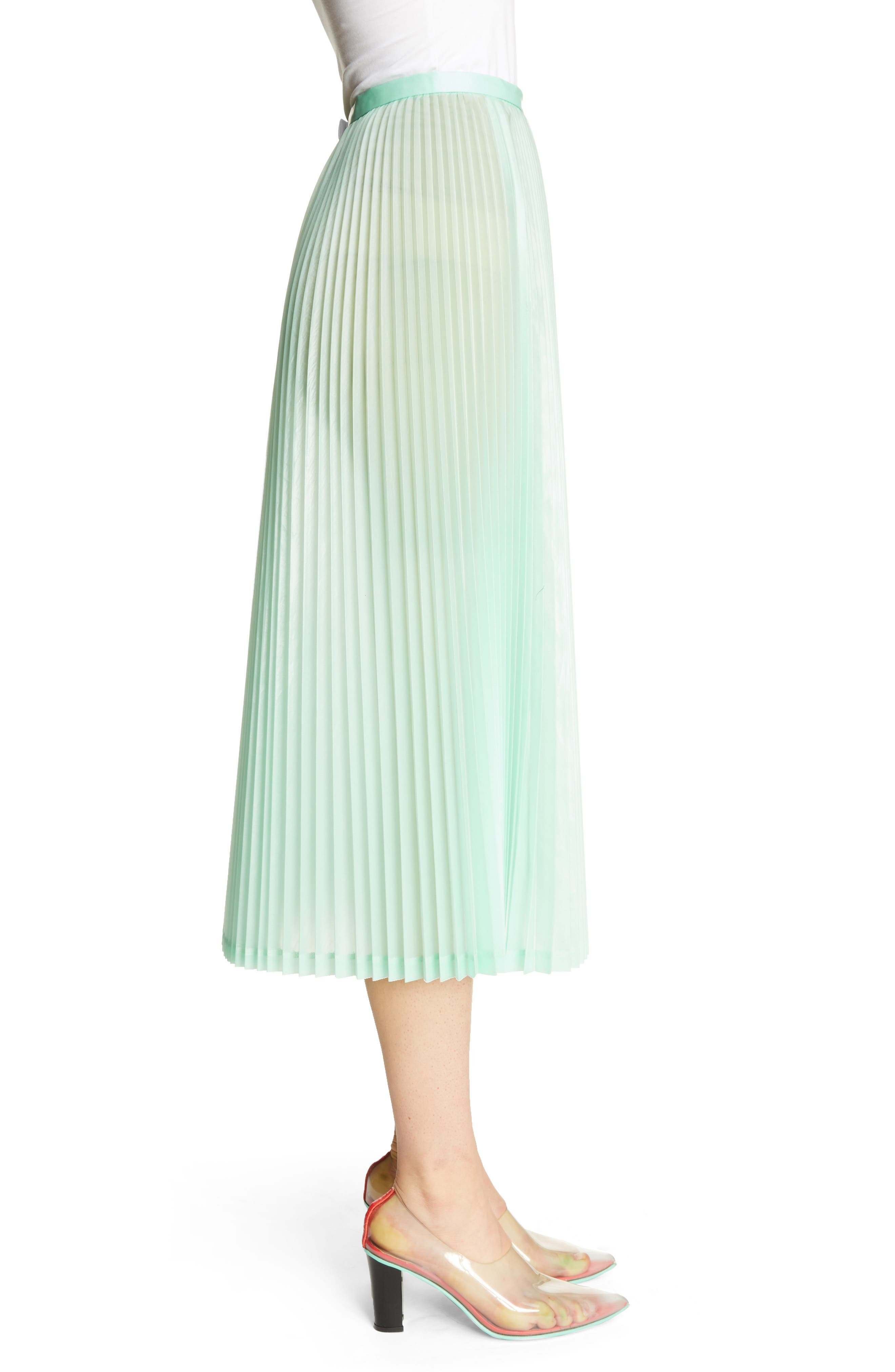 Pleated Keyhole Skirt,                             Alternate thumbnail 3, color,