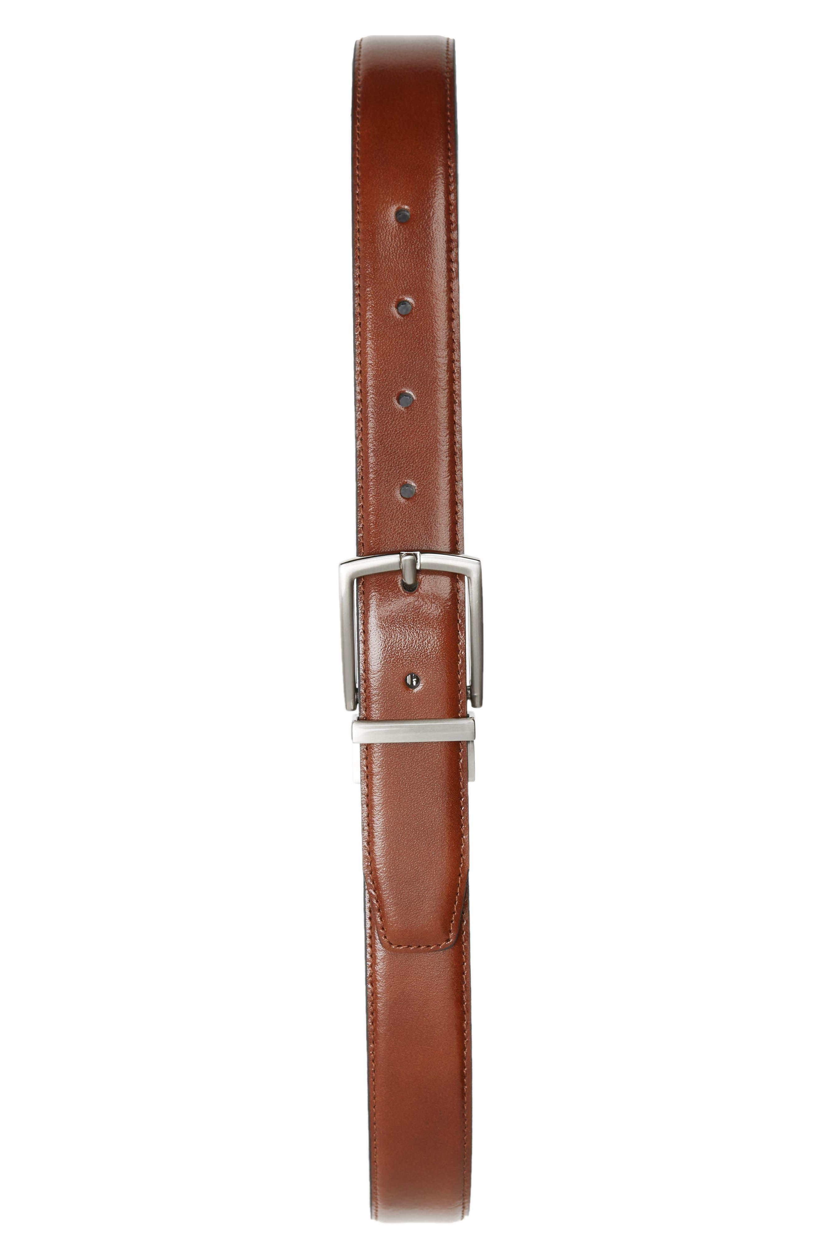 Reversible Leather Belt, Main, color, COGNAC BLACK