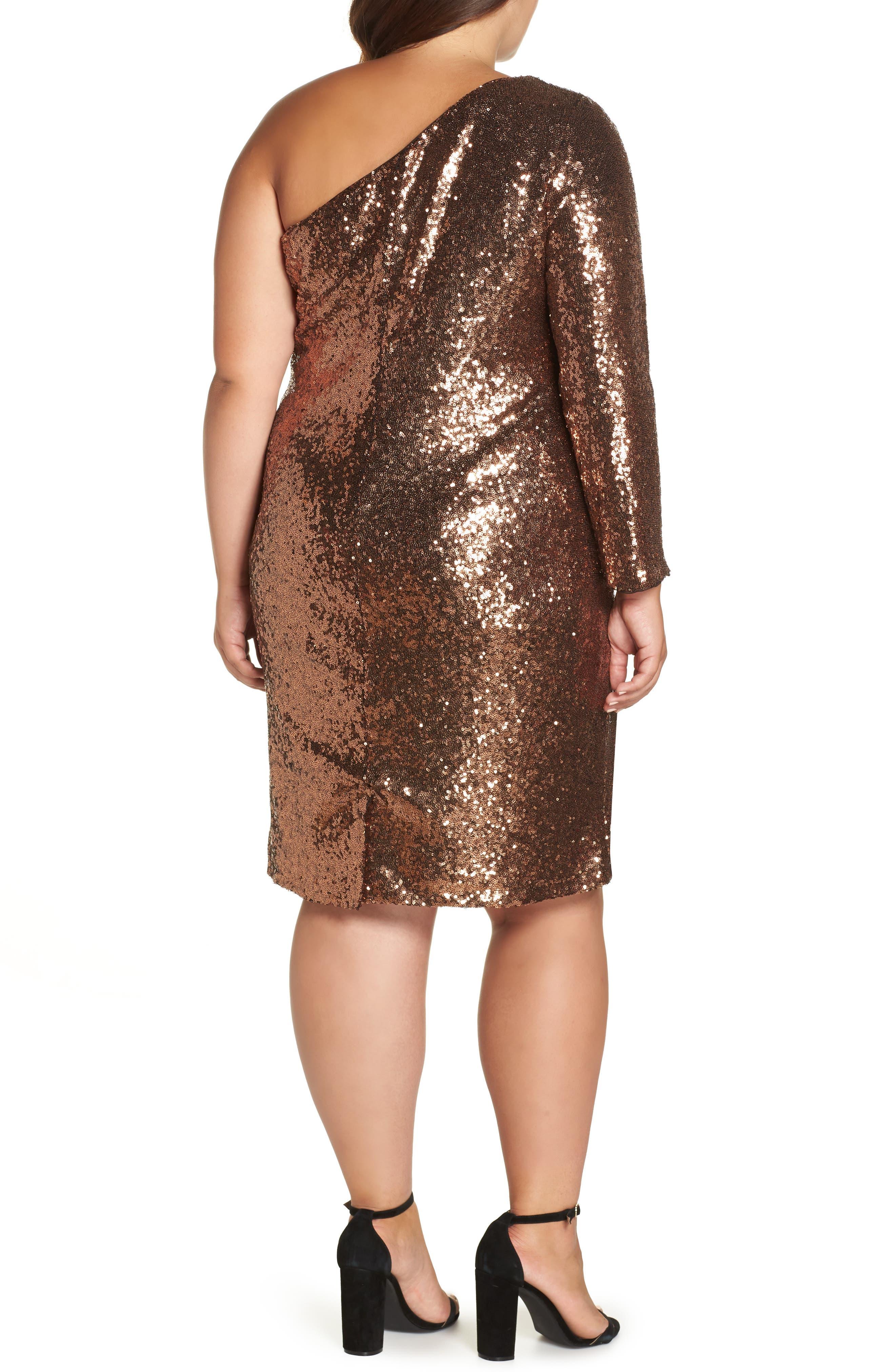 One Shoulder Sequin Party Dress,                             Alternate thumbnail 2, color,                             COPPER
