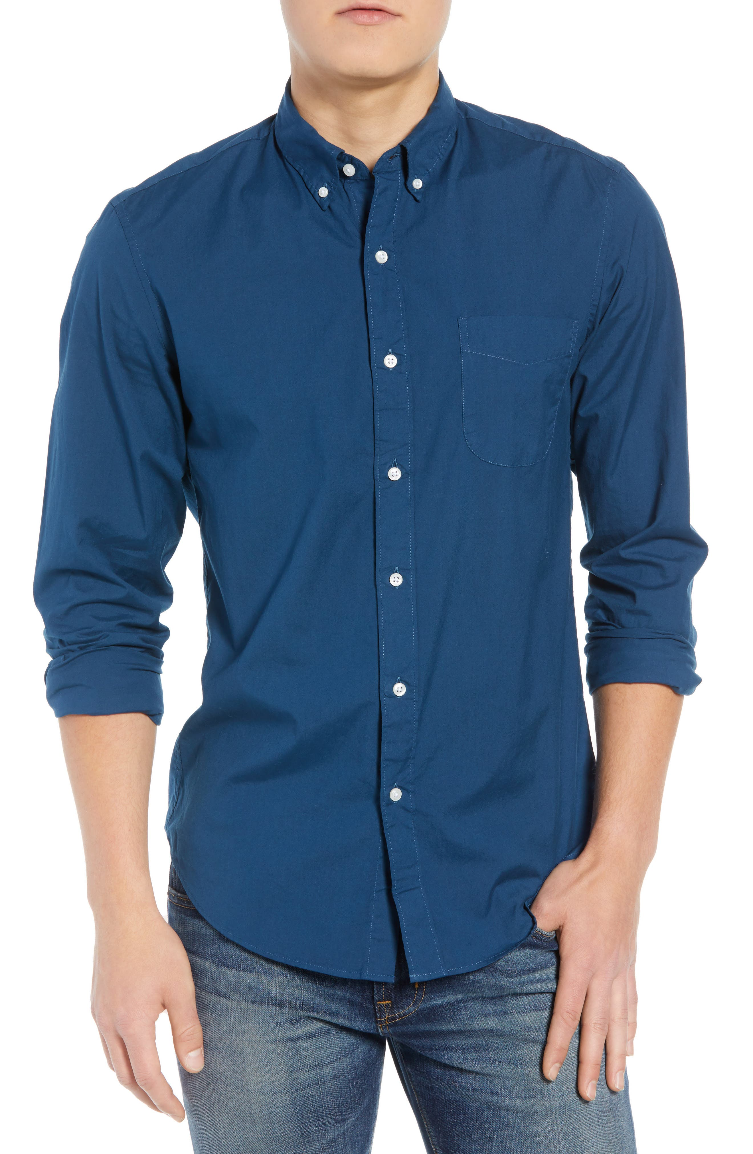 Slim Fit Stretch Secret Wash Garment Dyed Sport Shirt,                         Main,                         color,