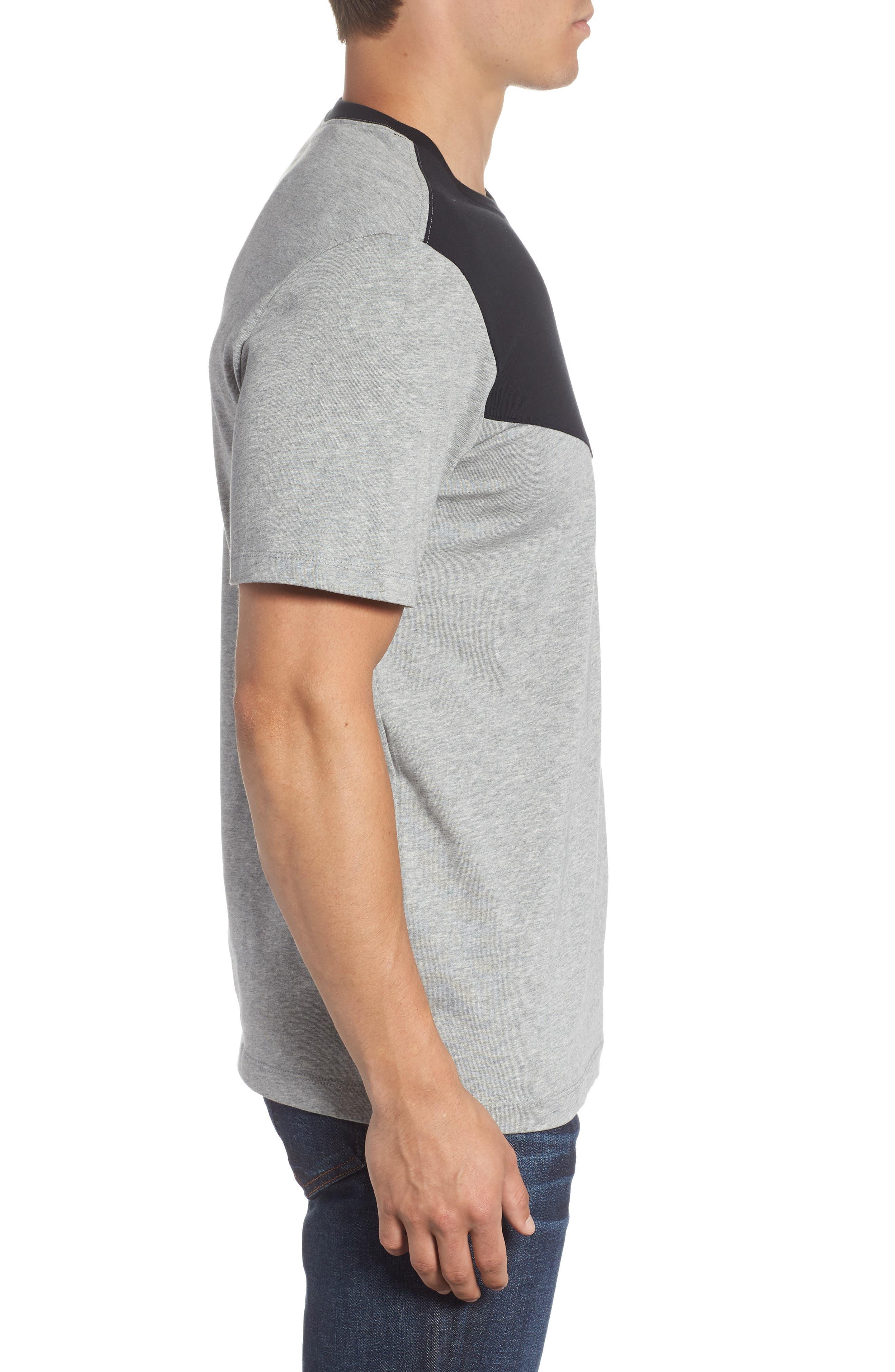 Windrunner Colorblocked T-Shirt,                             Alternate thumbnail 3, color,                             BLACK/ DK GREY HEATHER/ WHITE