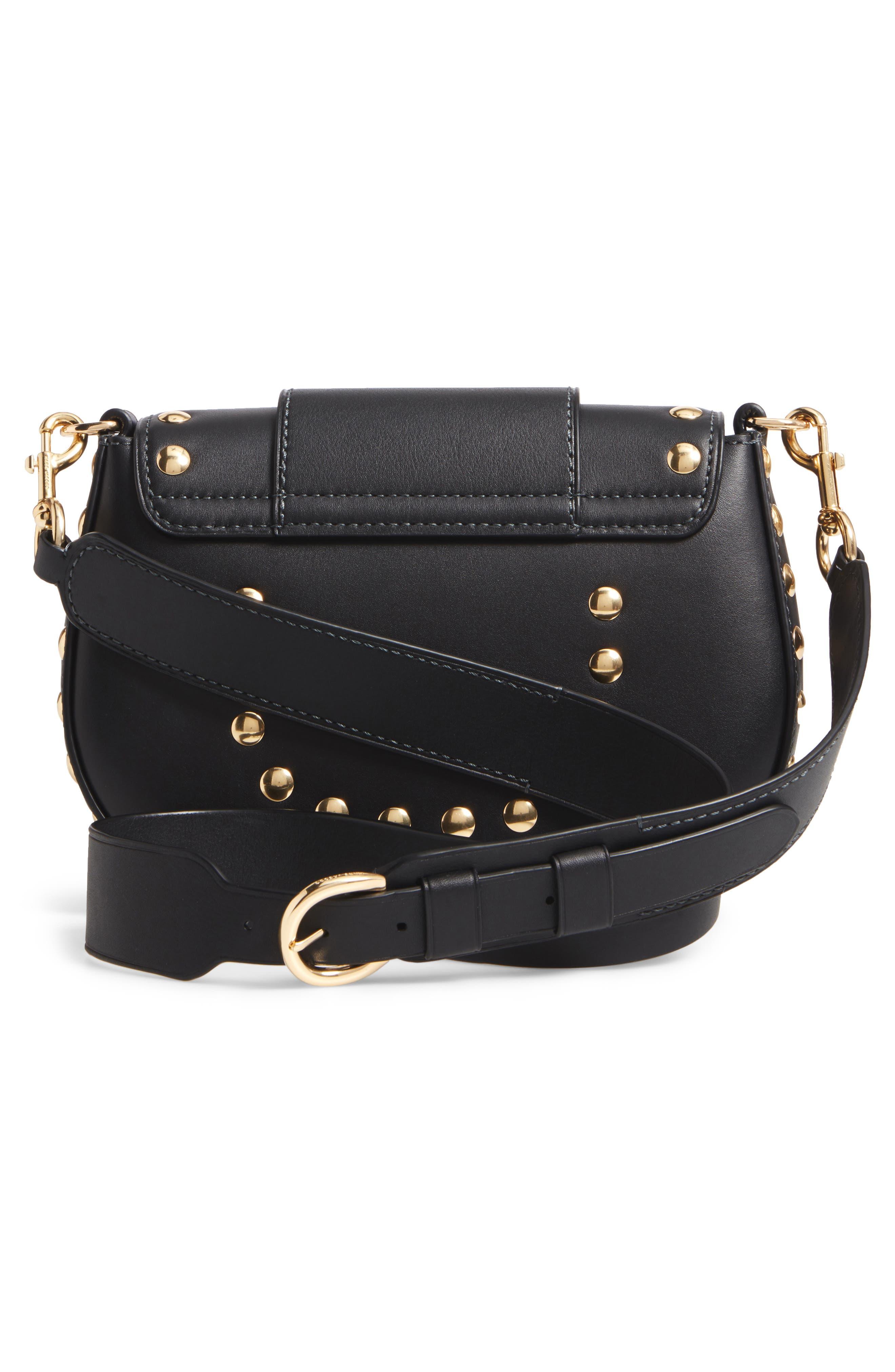 Studded Navigator Leather Crossbody Bag,                             Alternate thumbnail 3, color,                             001
