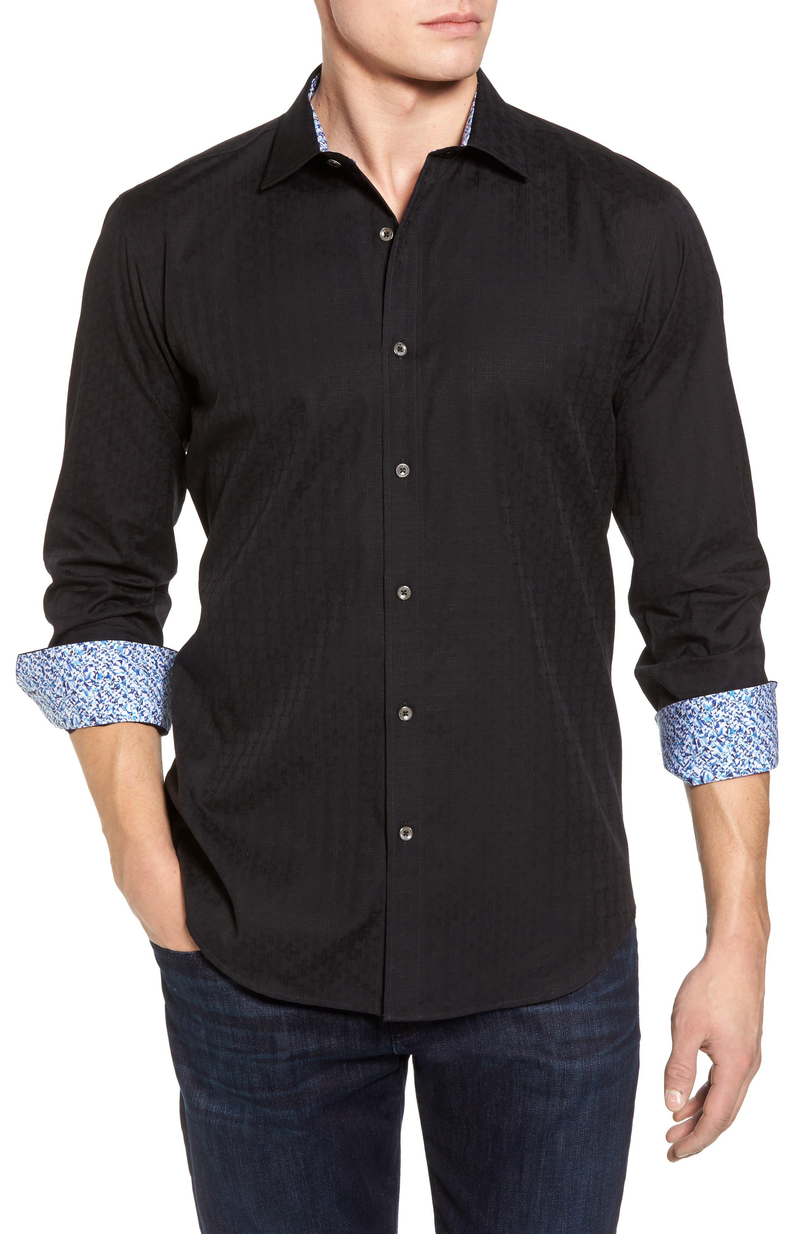 Classic Fit Check Sport Shirt,                         Main,                         color, 001
