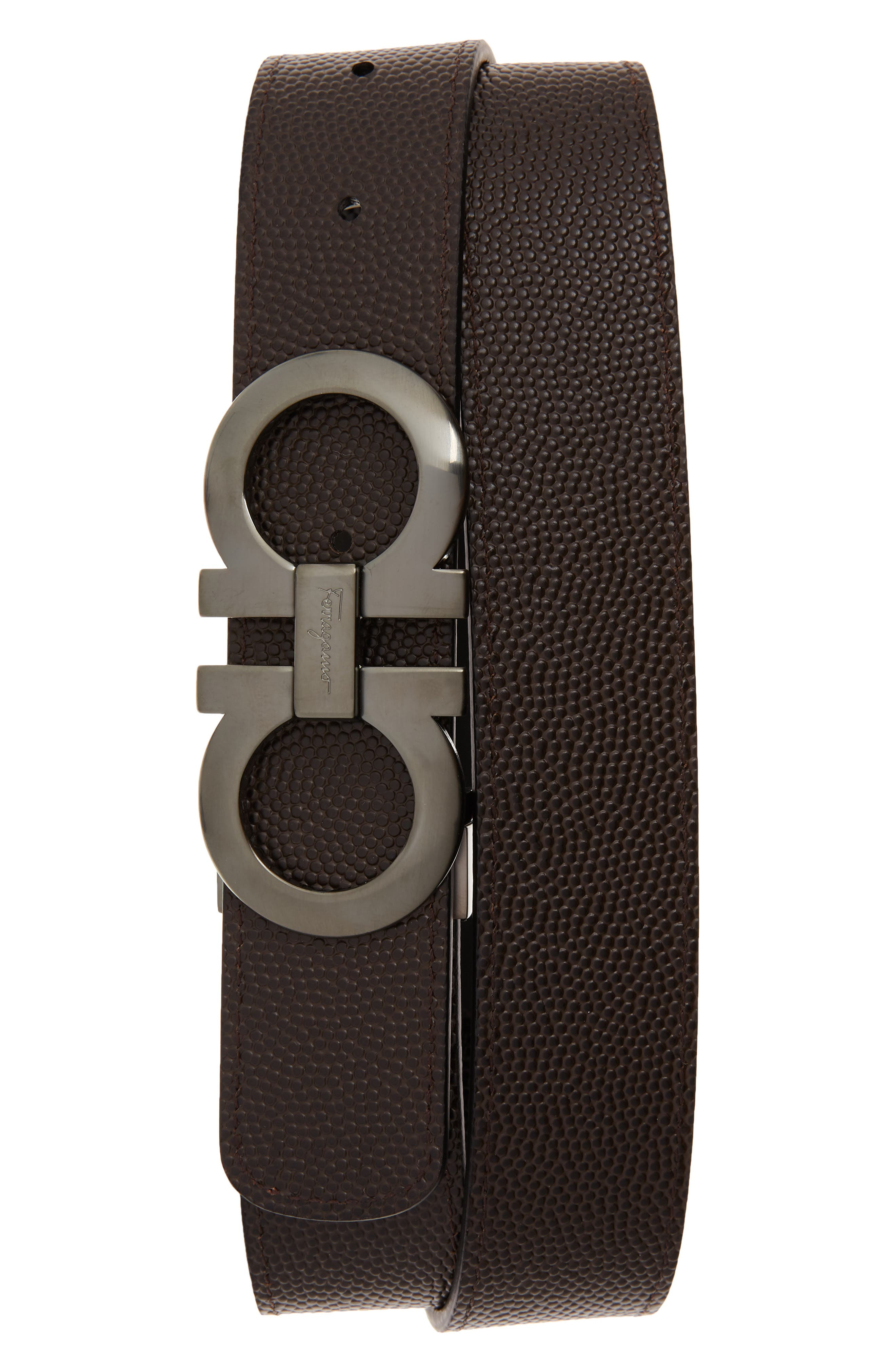 Leather Belt,                             Alternate thumbnail 2, color,                             NERO/ CHOCOLATE